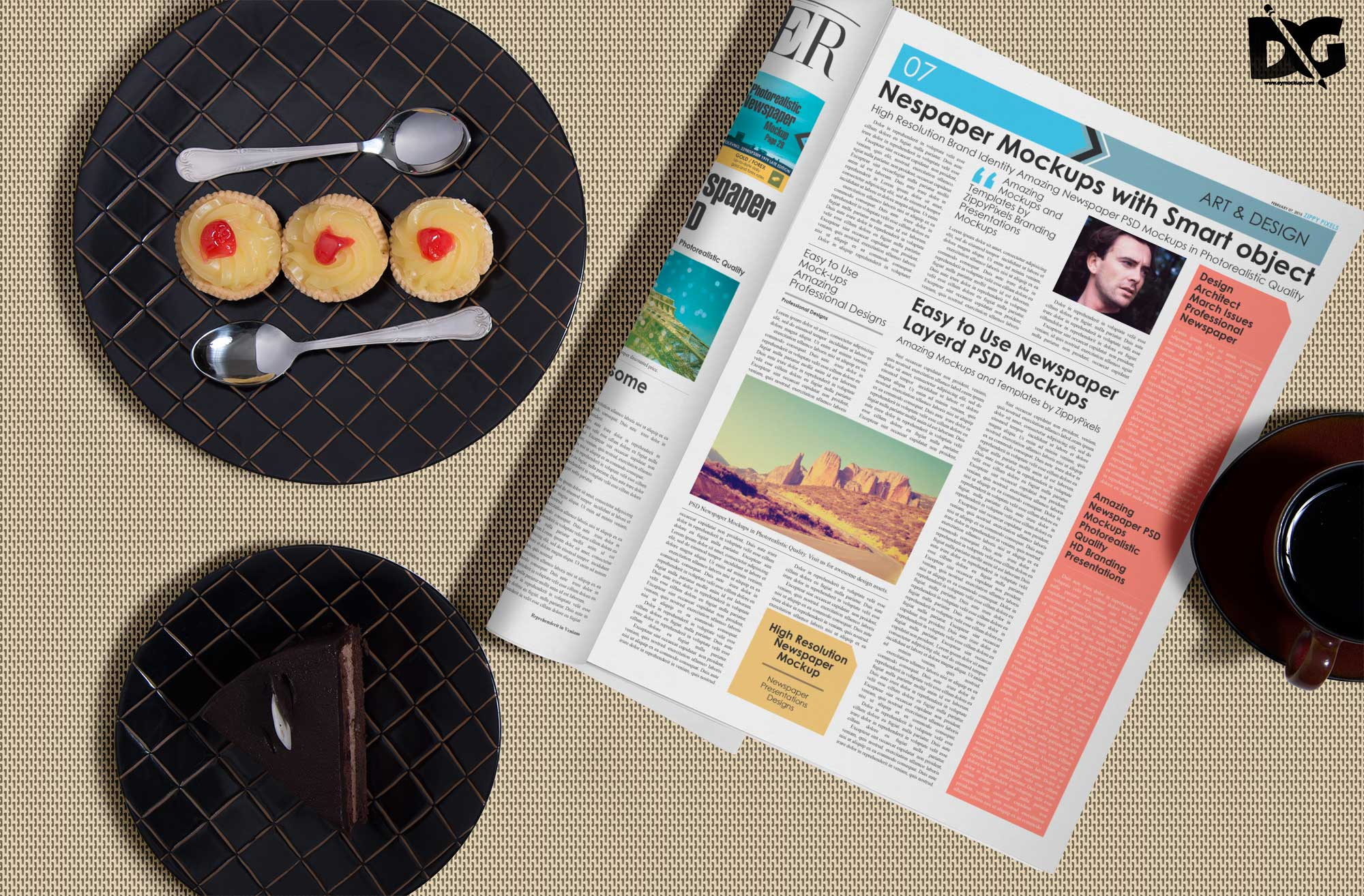 Table Newspaper Mockup