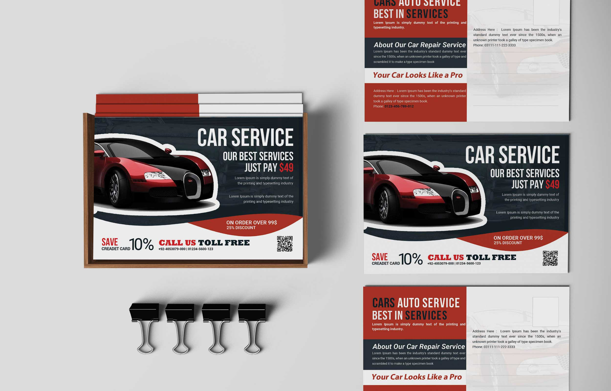 Free Car Repair Service PostCard PSD Template