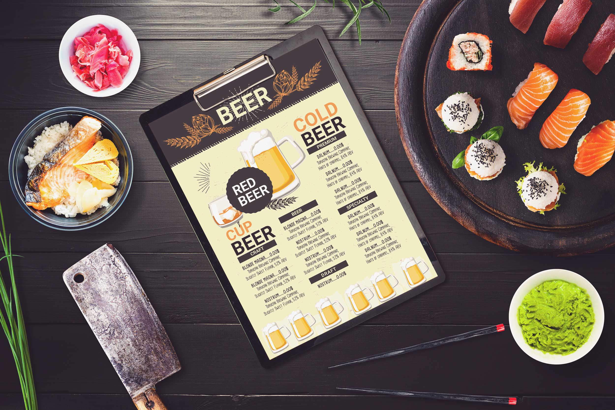 Free Cold Beer Shop PSD Menu Template
