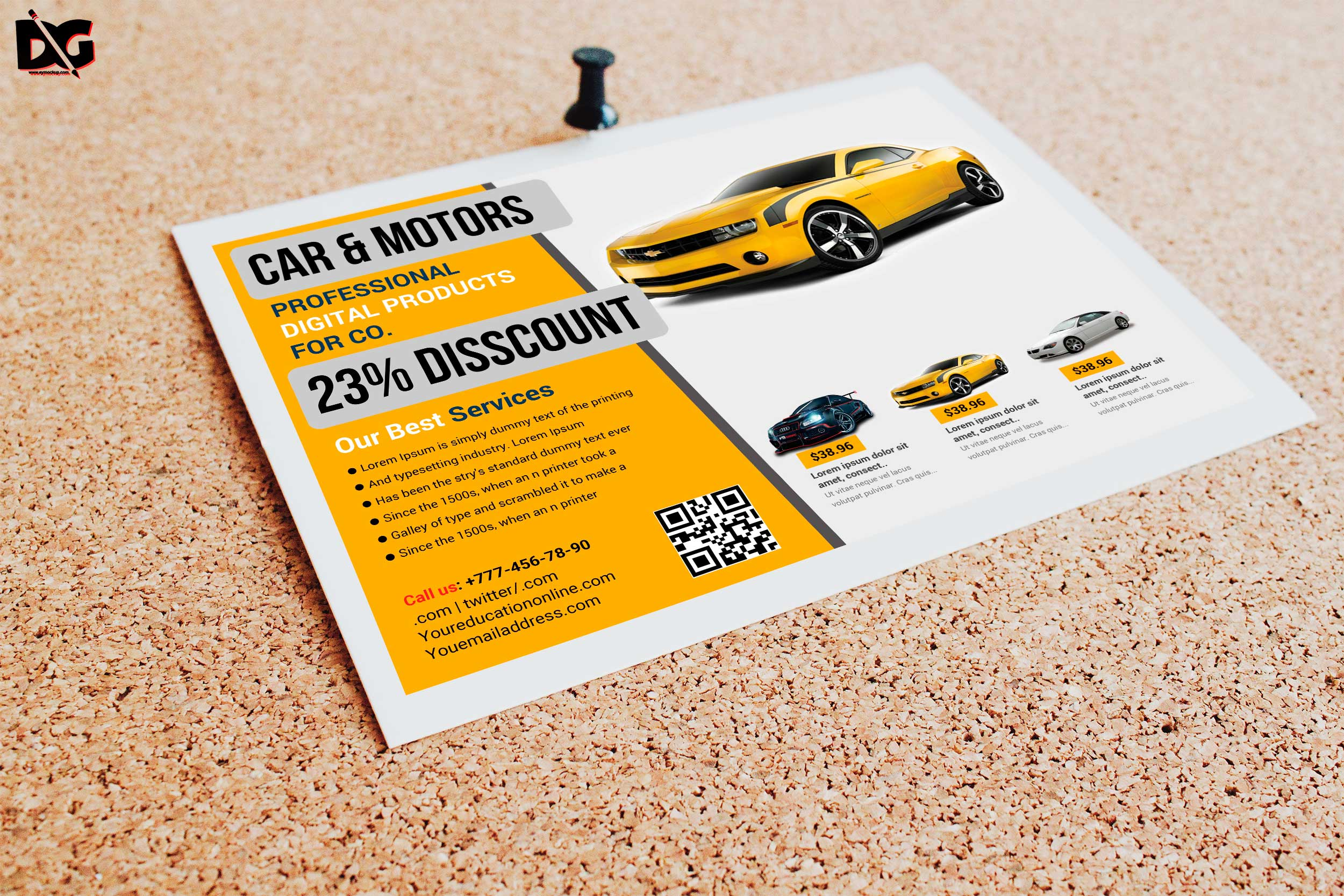 Free Half Fold Car Product Flyer Template