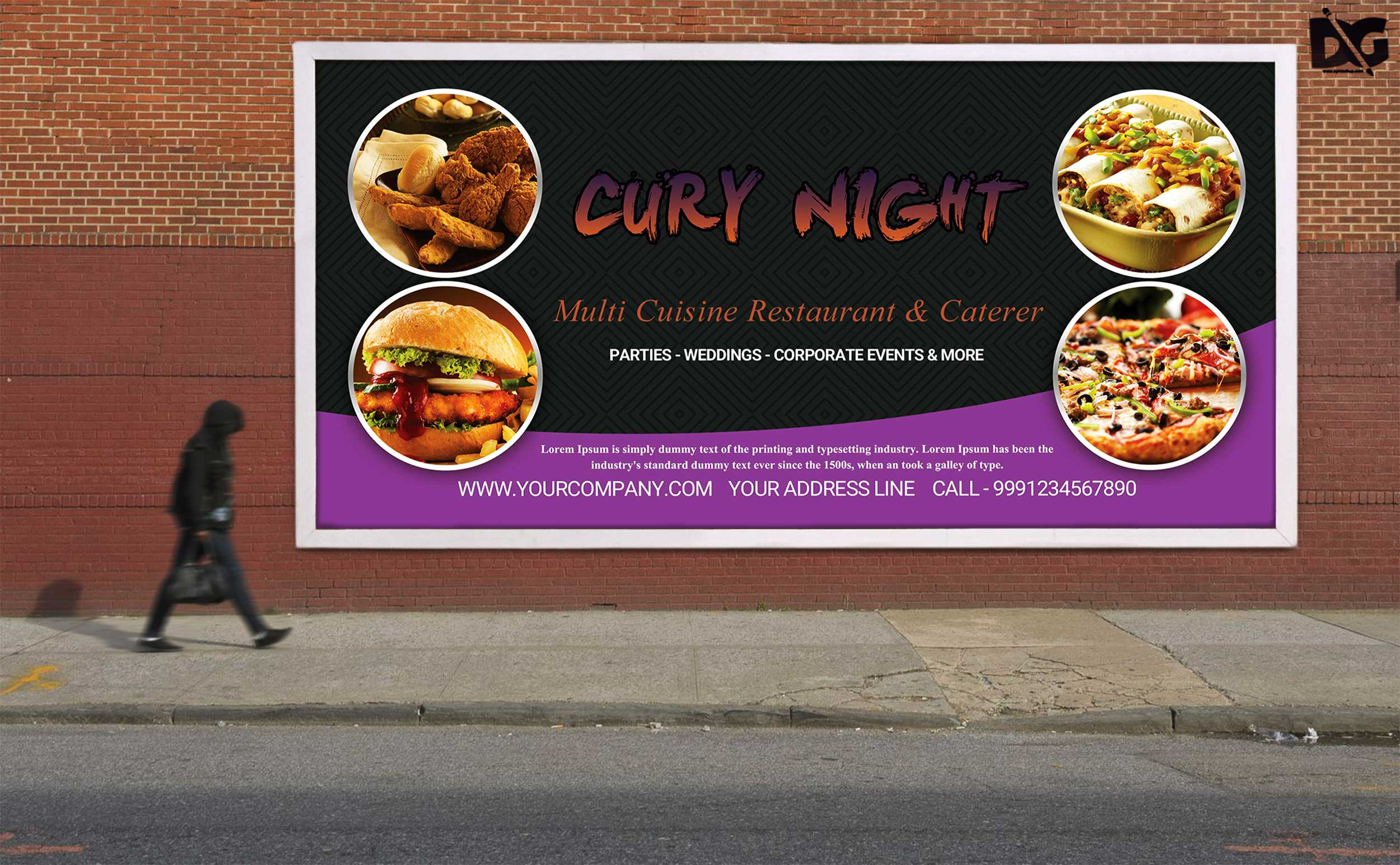 Free Night Restaurant PSD Billboard Design Template