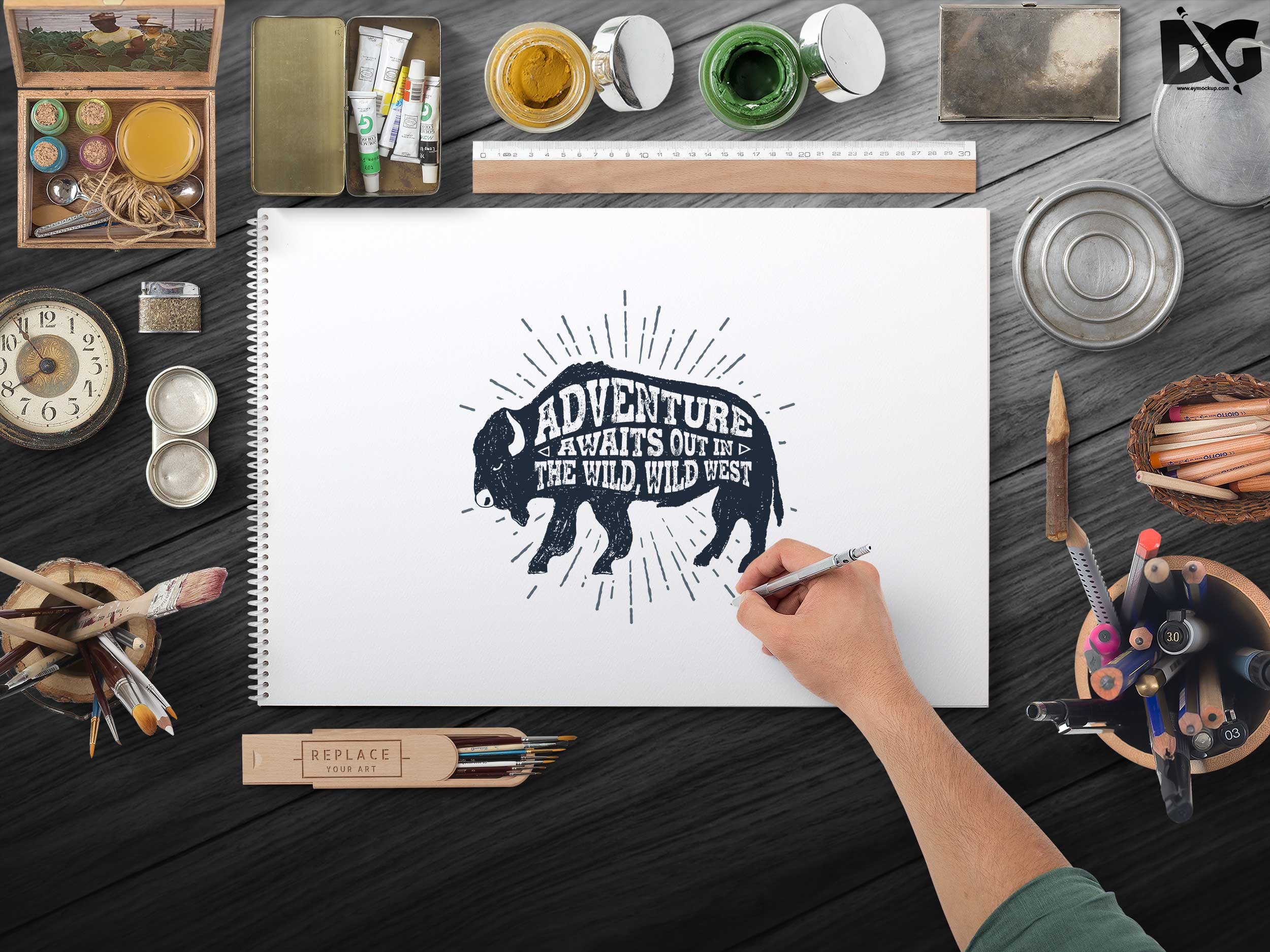 Free PSD Artwork Design Art Lab Mockup