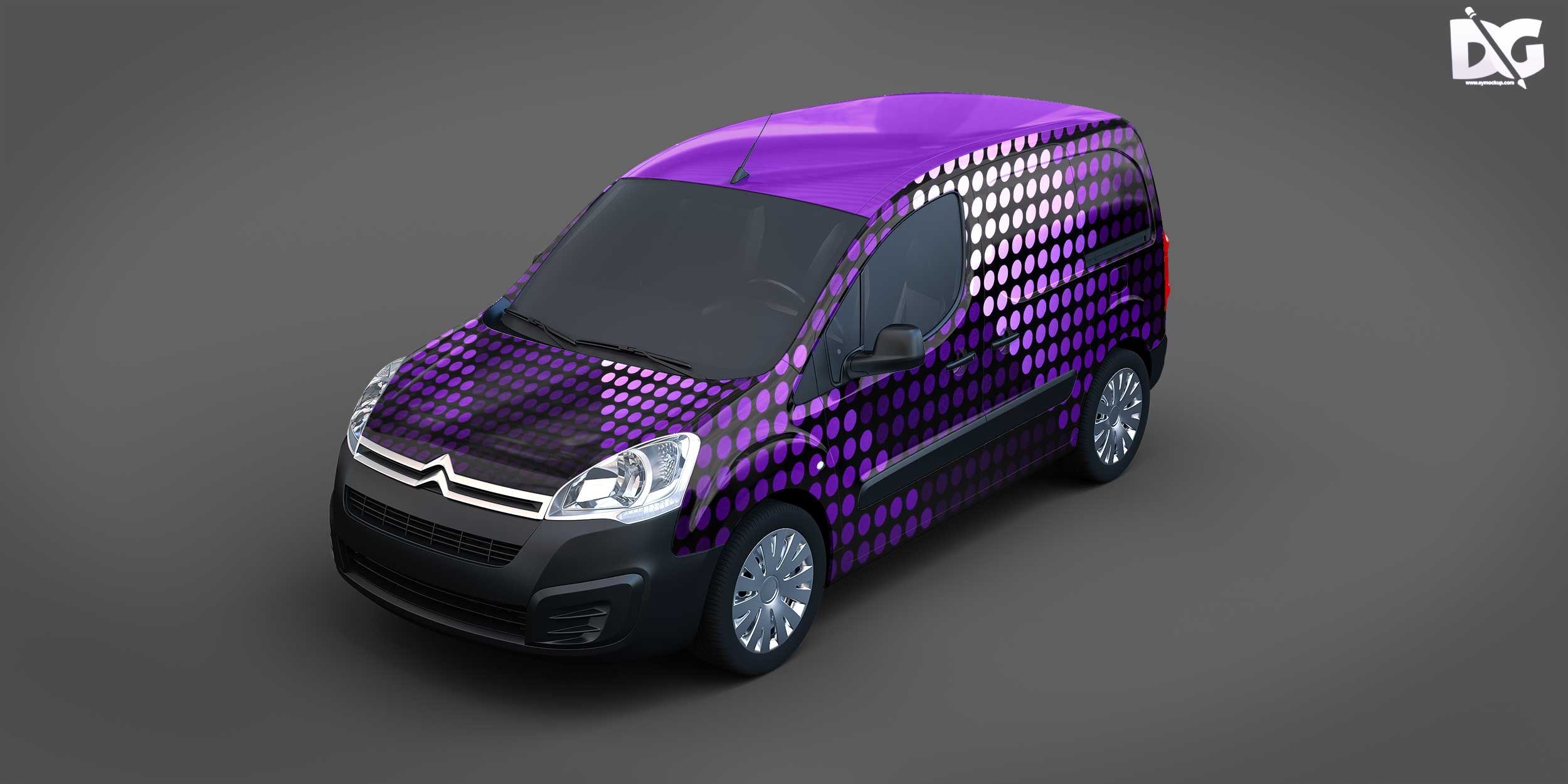 Free Courier Van Colorful Mockups