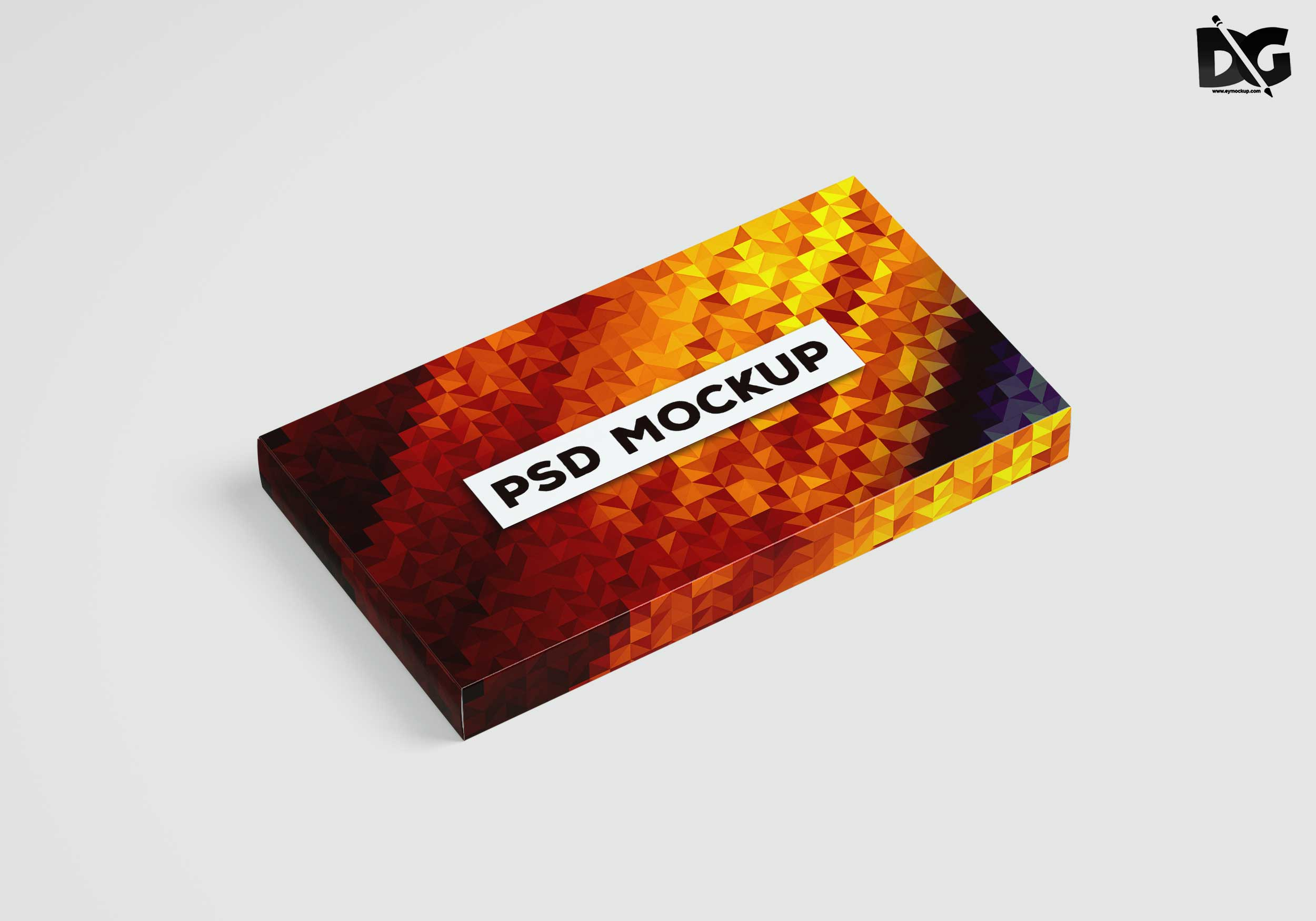 Free Rectangle Box PSD Label Design Mockup For Template
