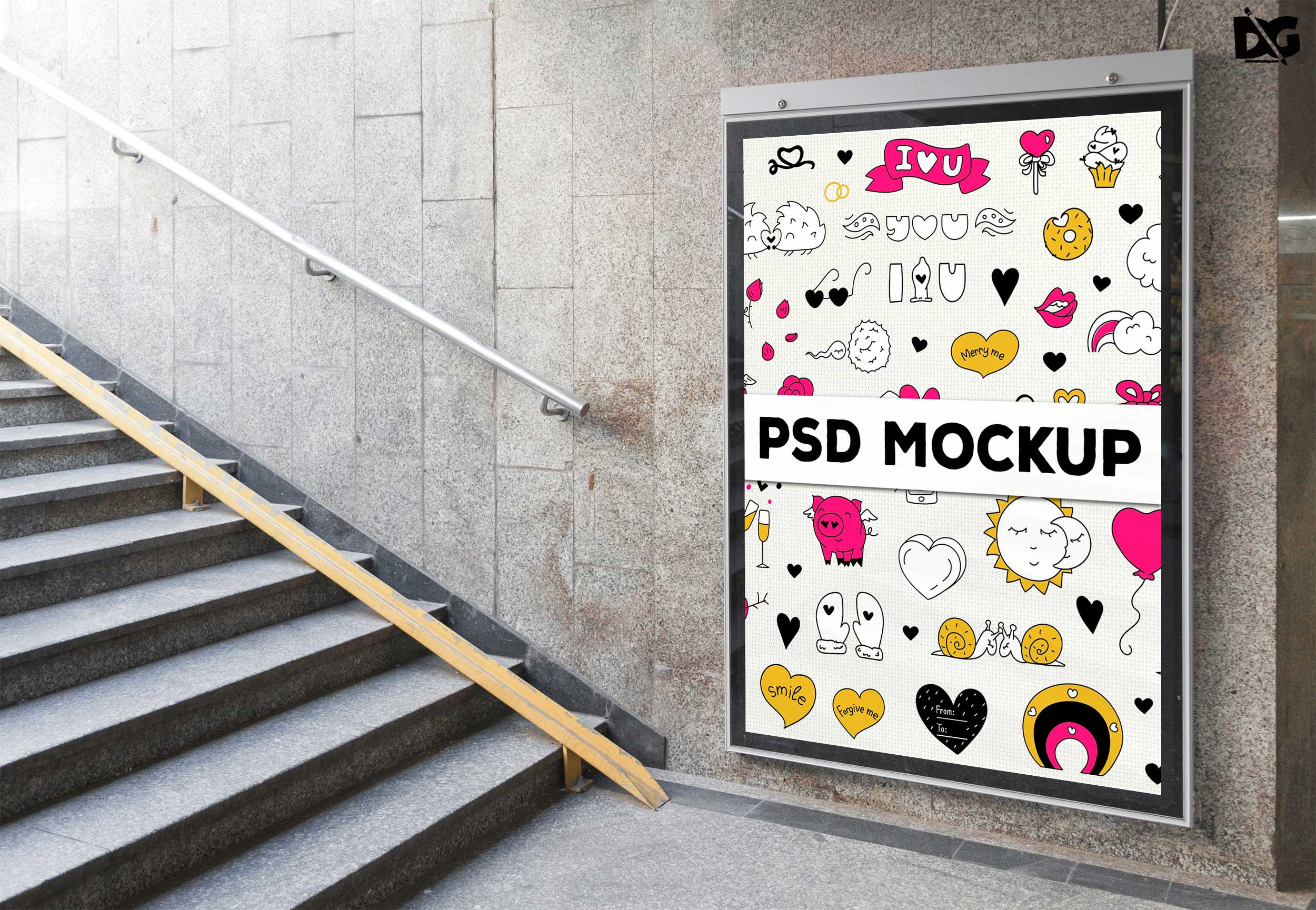 Free Stair Case Side Wall Billboard Mockup Template | Free PSD Mockup