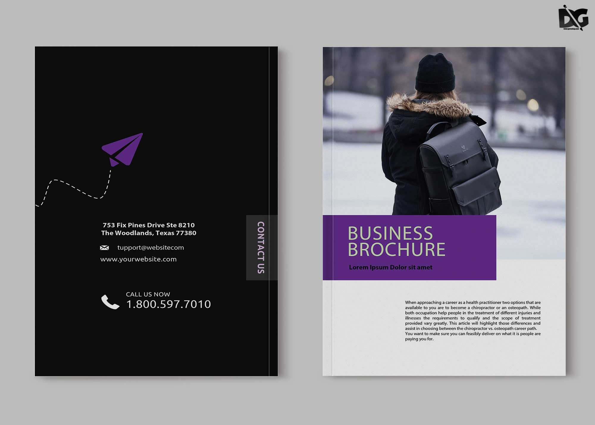 Free Travler Bi-Fold Brochure Template