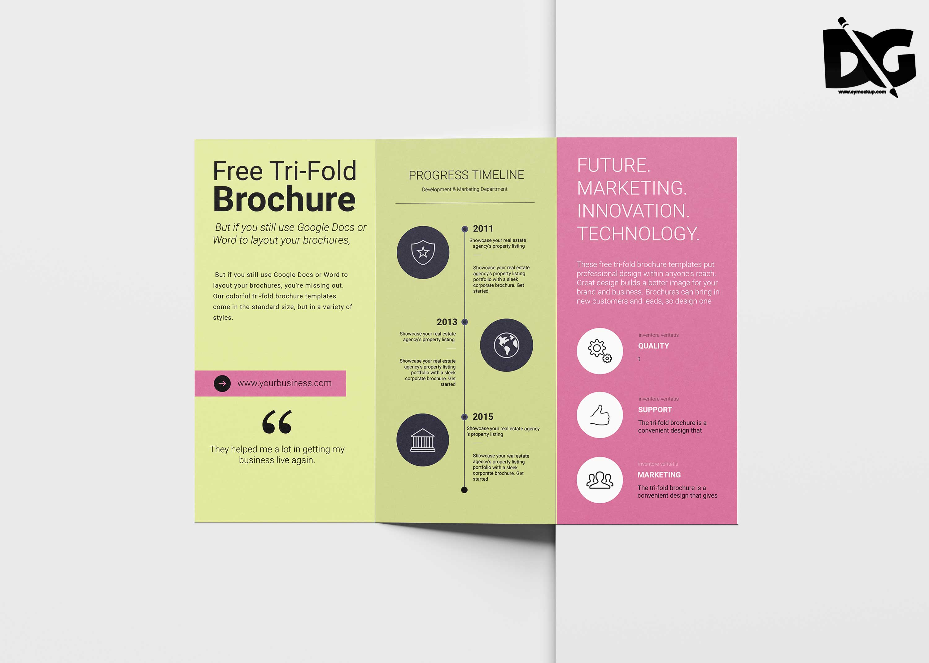 Colorful Free Download Tri-Fold PSD Template