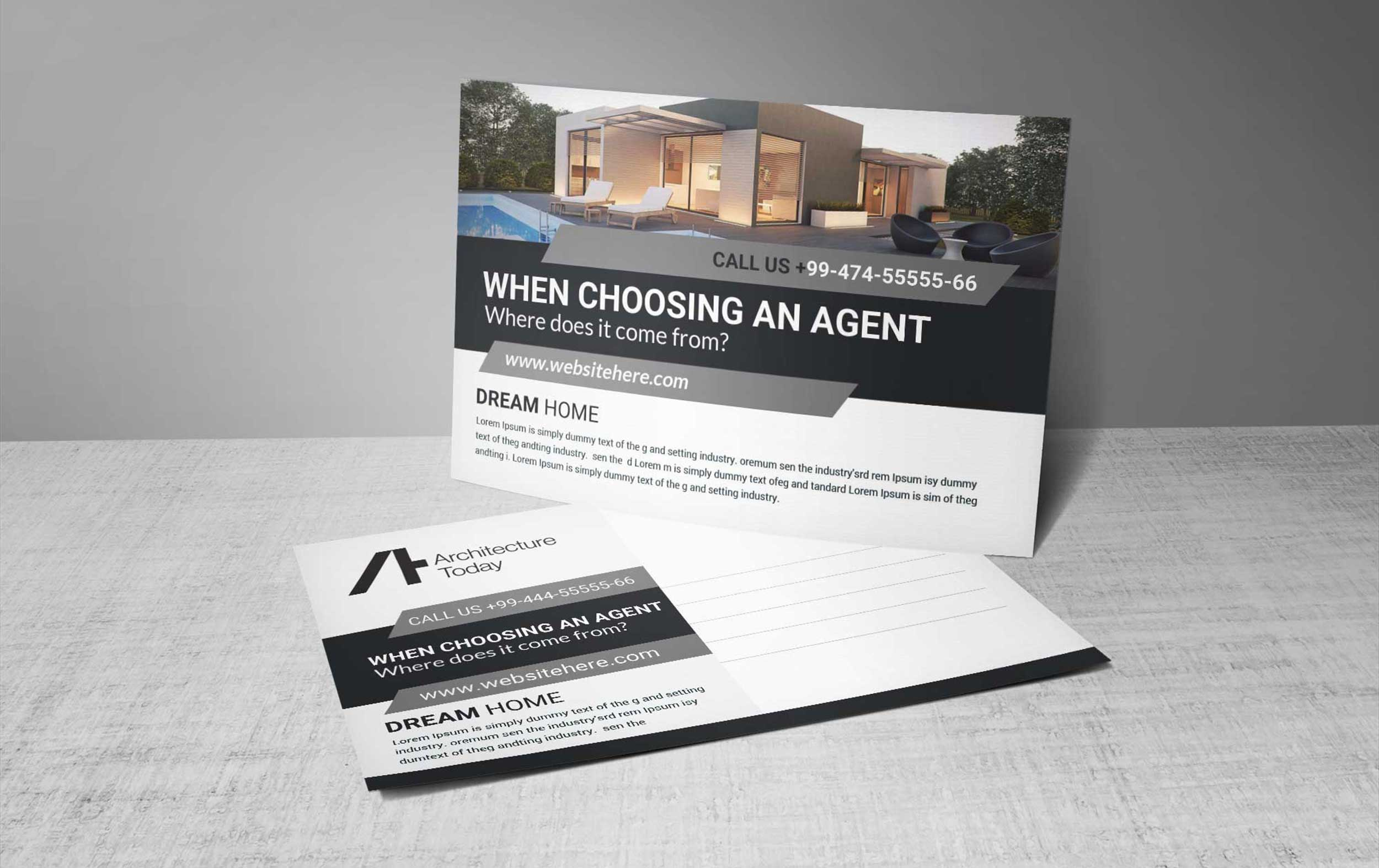 Free Architecture Today Postcard PSD Template