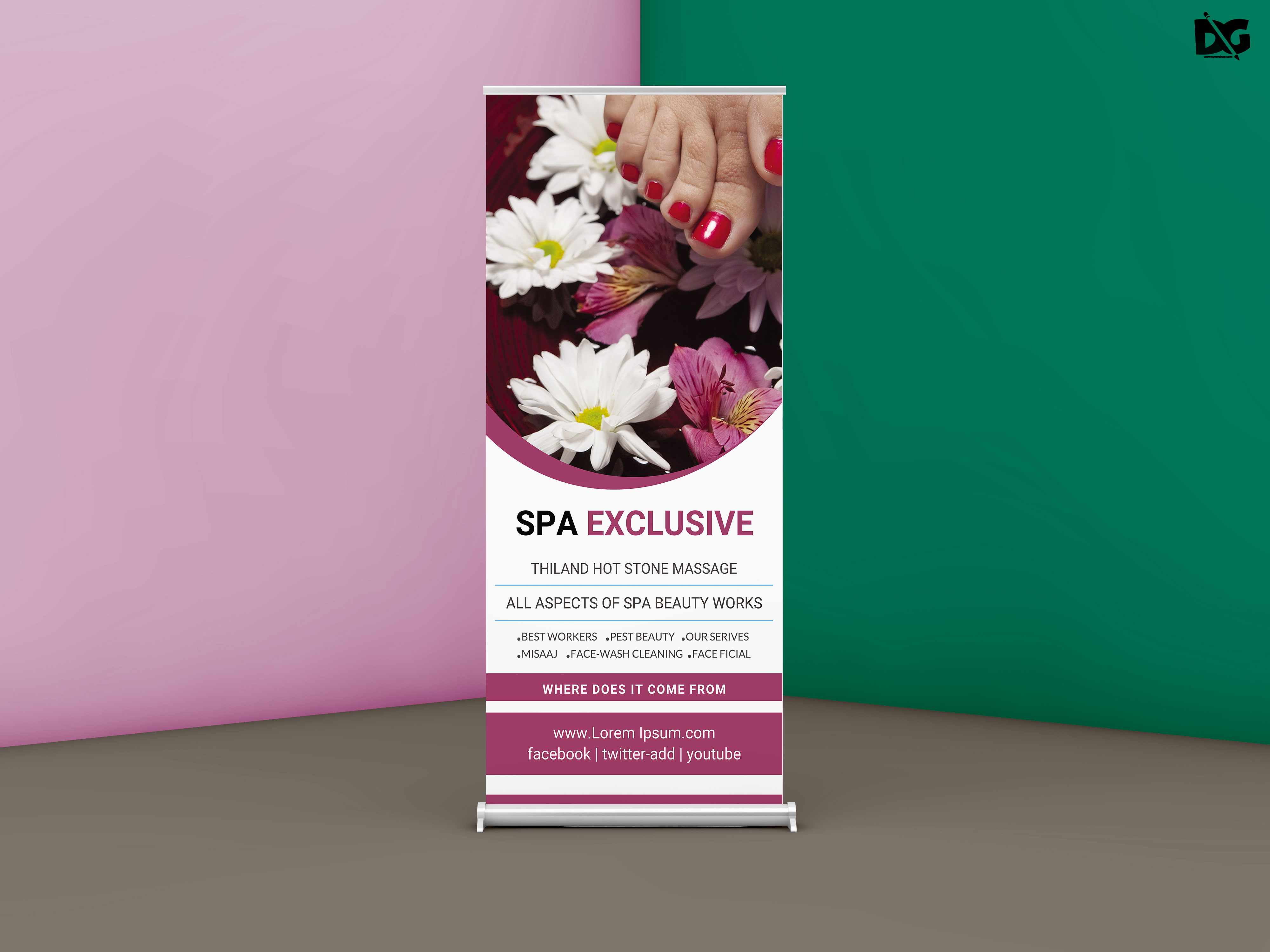 Free Beautiful Spa Care Roll up PSD Template