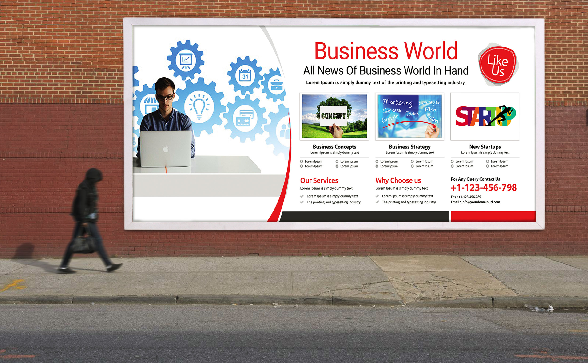 Free Business News Billboard PSD Template