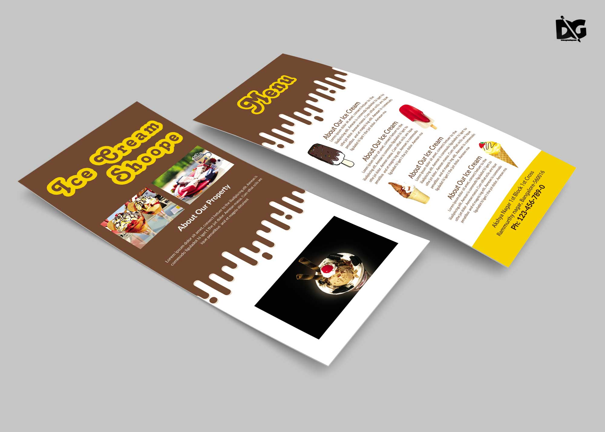 Free Chocolate Ice Cream Rack Card Template