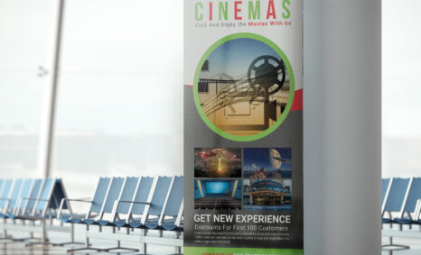 Free Cinema Hall Roll Up Banner PSD Template