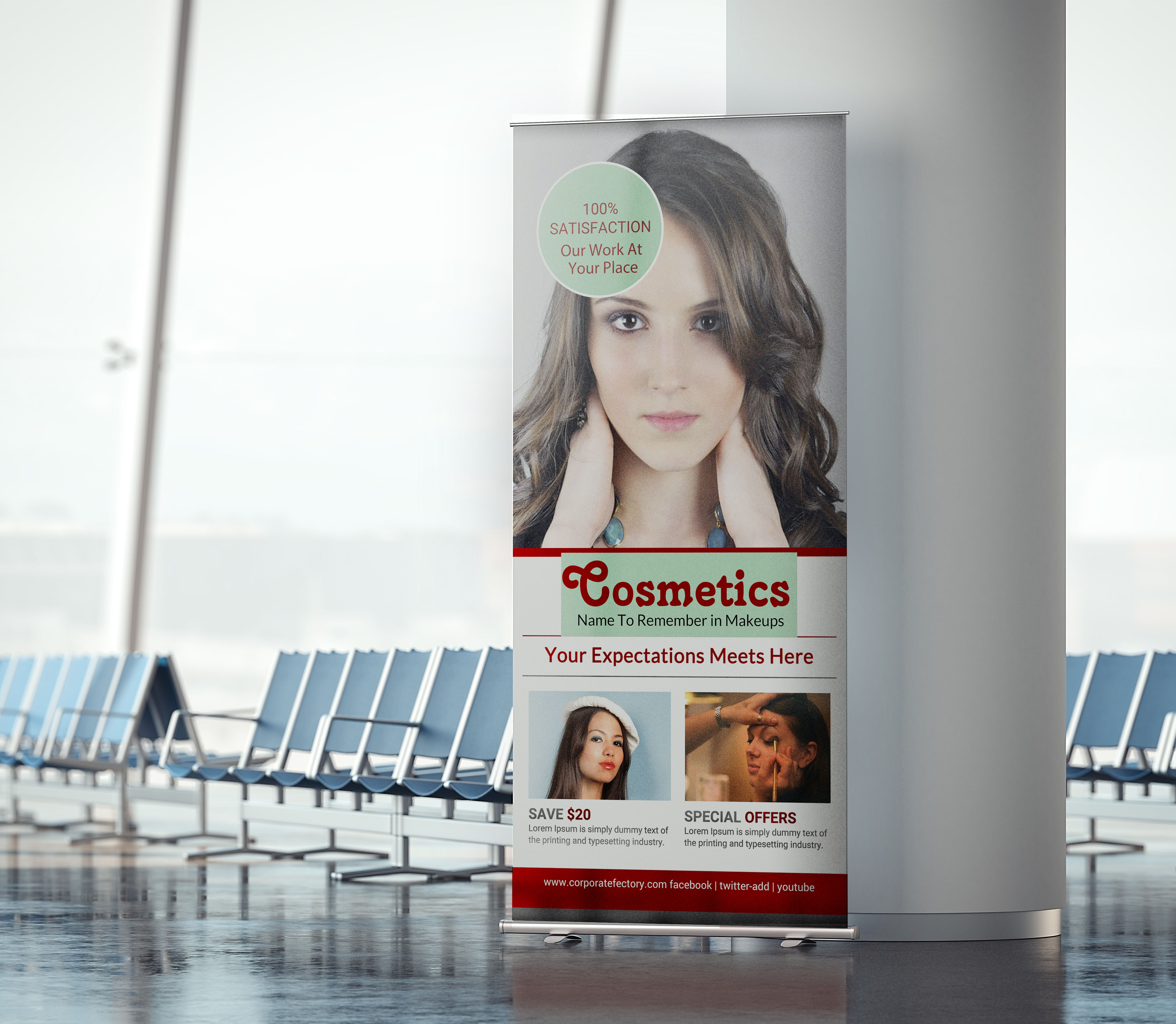 Free Cosmetic Next Generation Roll up Banner Template