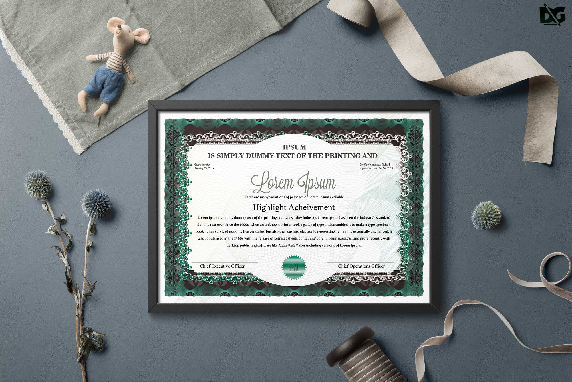 Free Download Achievement Psd Certificate Template Free Psd Mockup