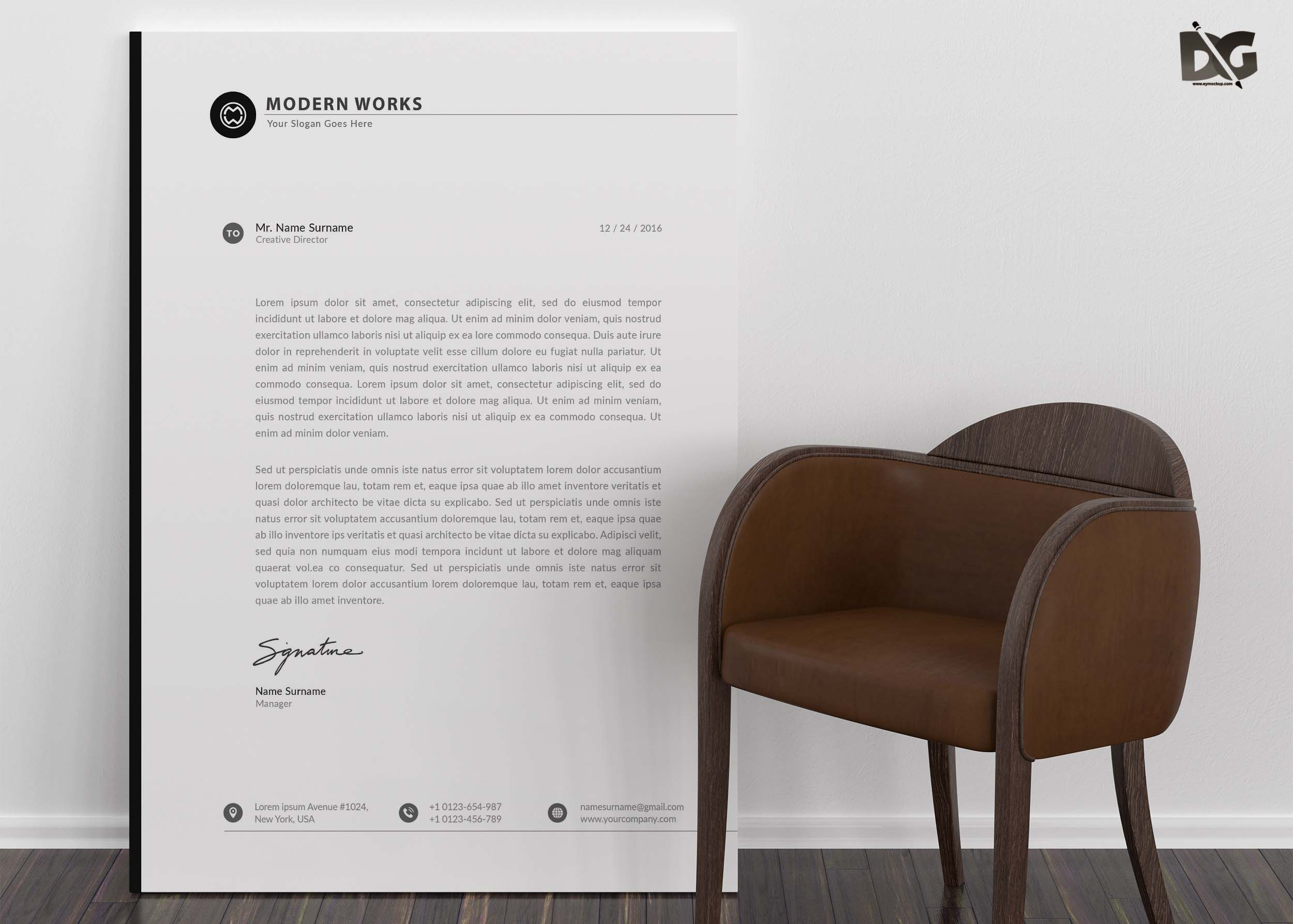 Free Download Agency Letter Head PSD Template