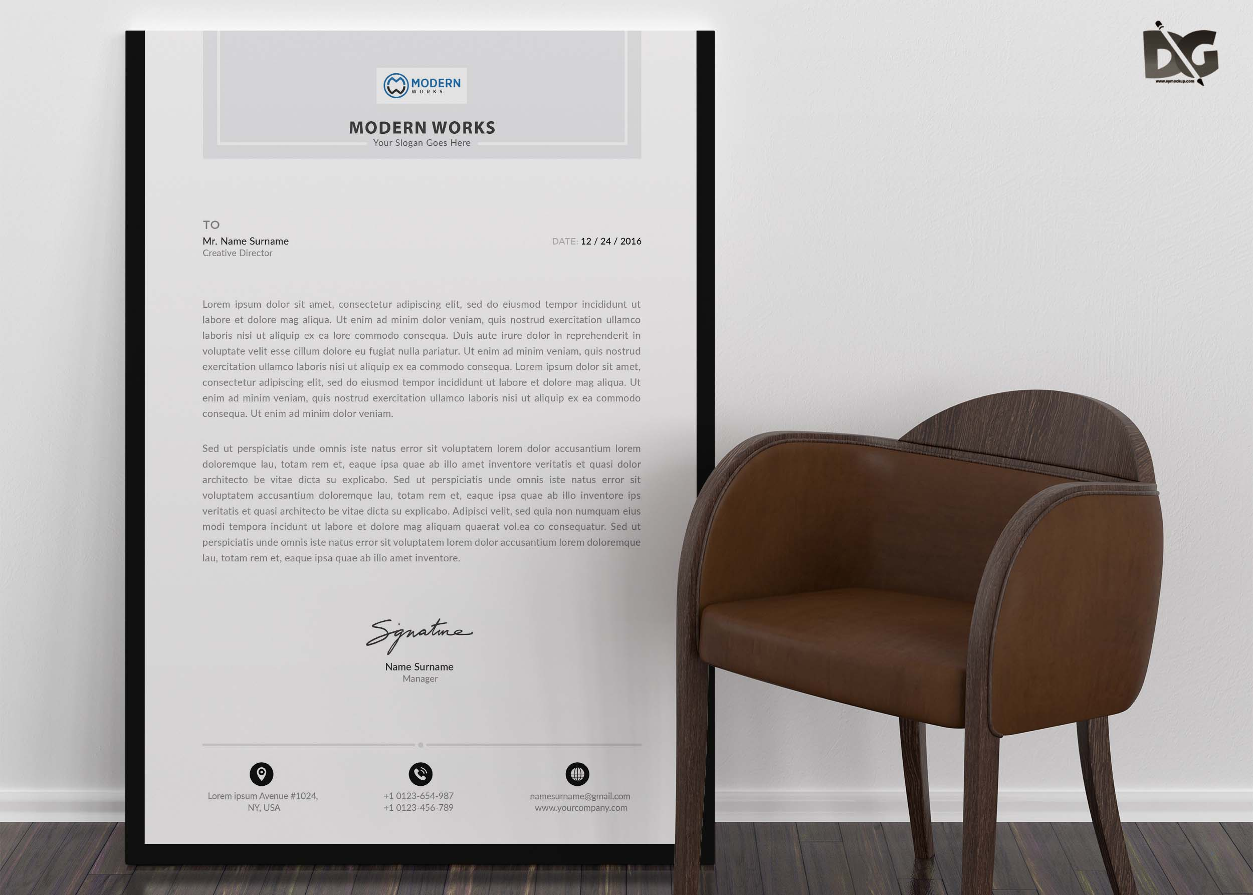 Free Download Business LetterHead PSD Template