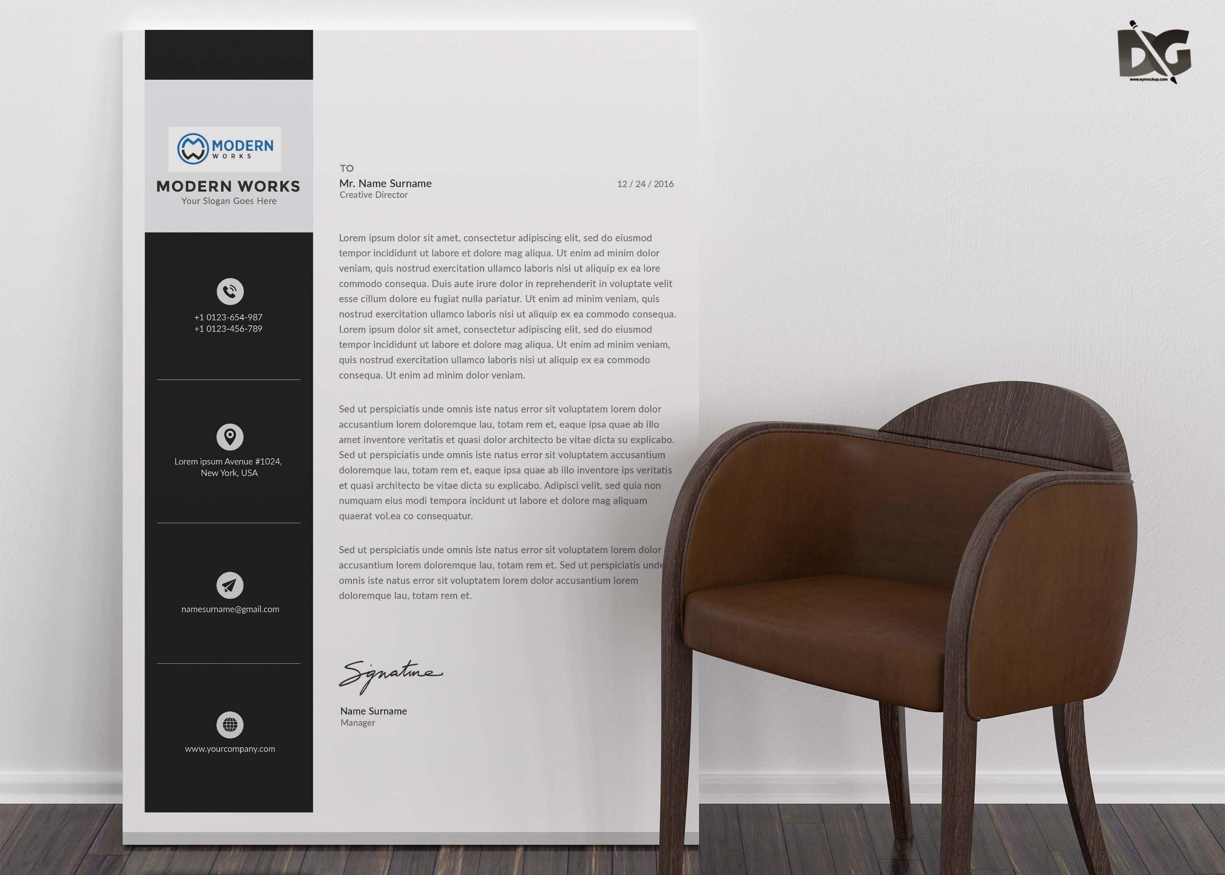 Free Download Corporate LetterHead PSD Template