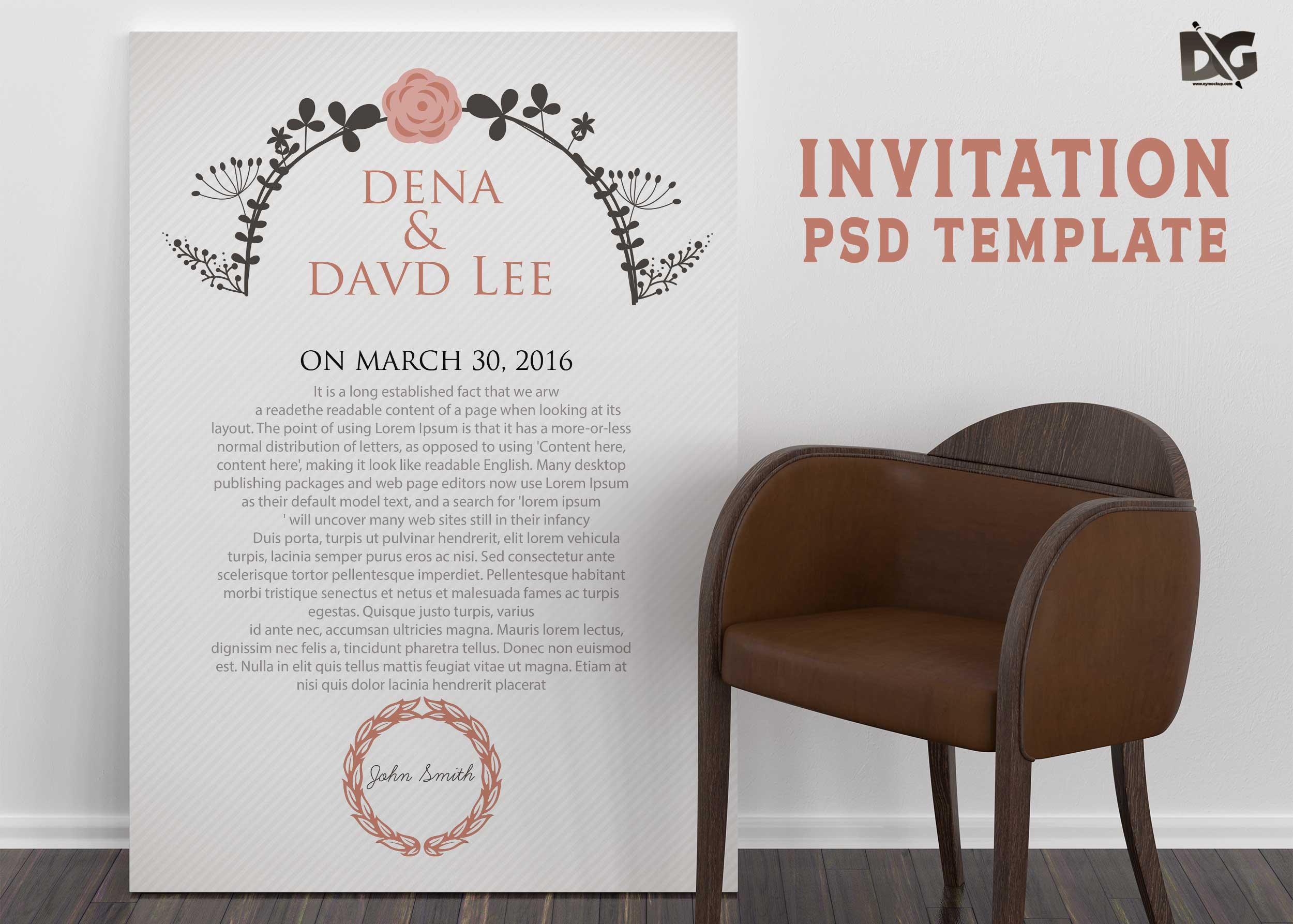 Free Download Engagement Invitation PSD Template