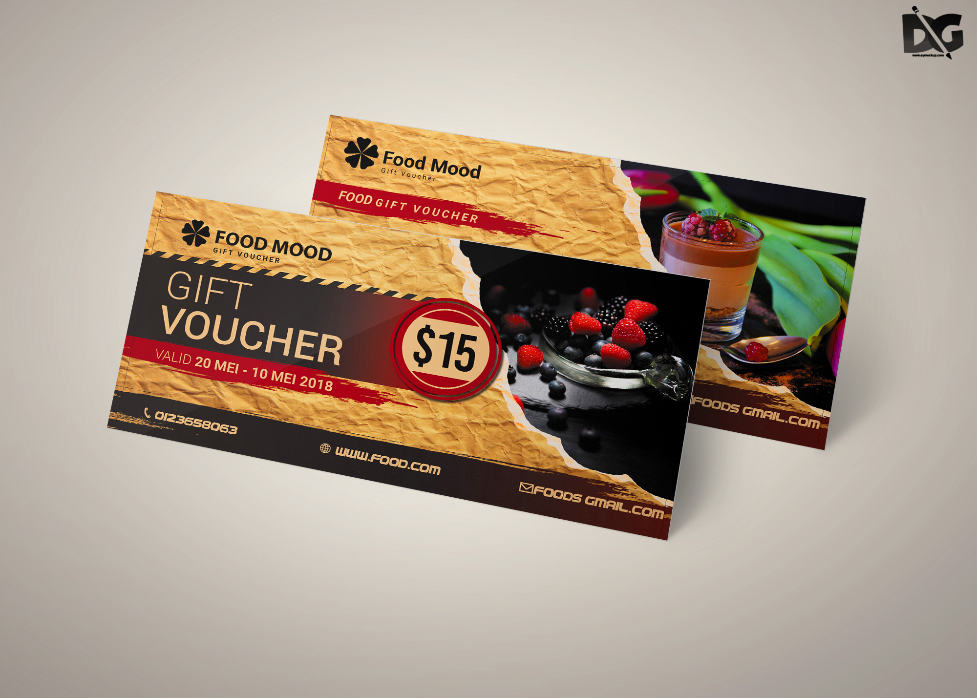 Free Download Food Mood PSD Gift Card Template