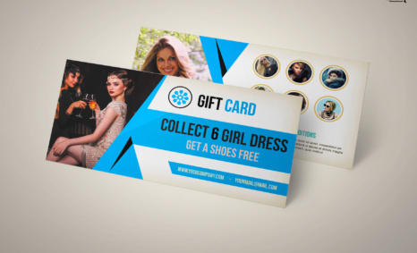 Free Download Girl Dresses Gift Card PSD Template