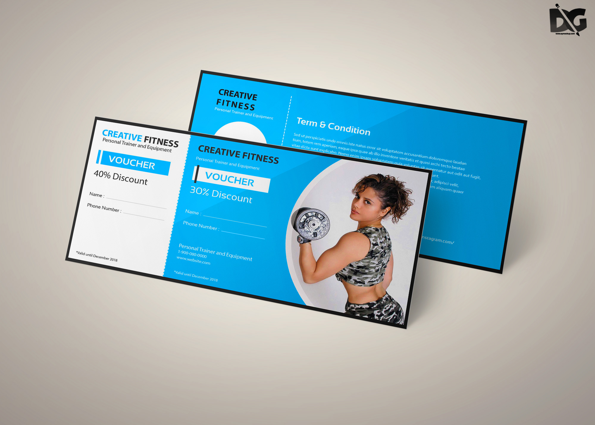 Free Download Gym PSD Gift Card Template