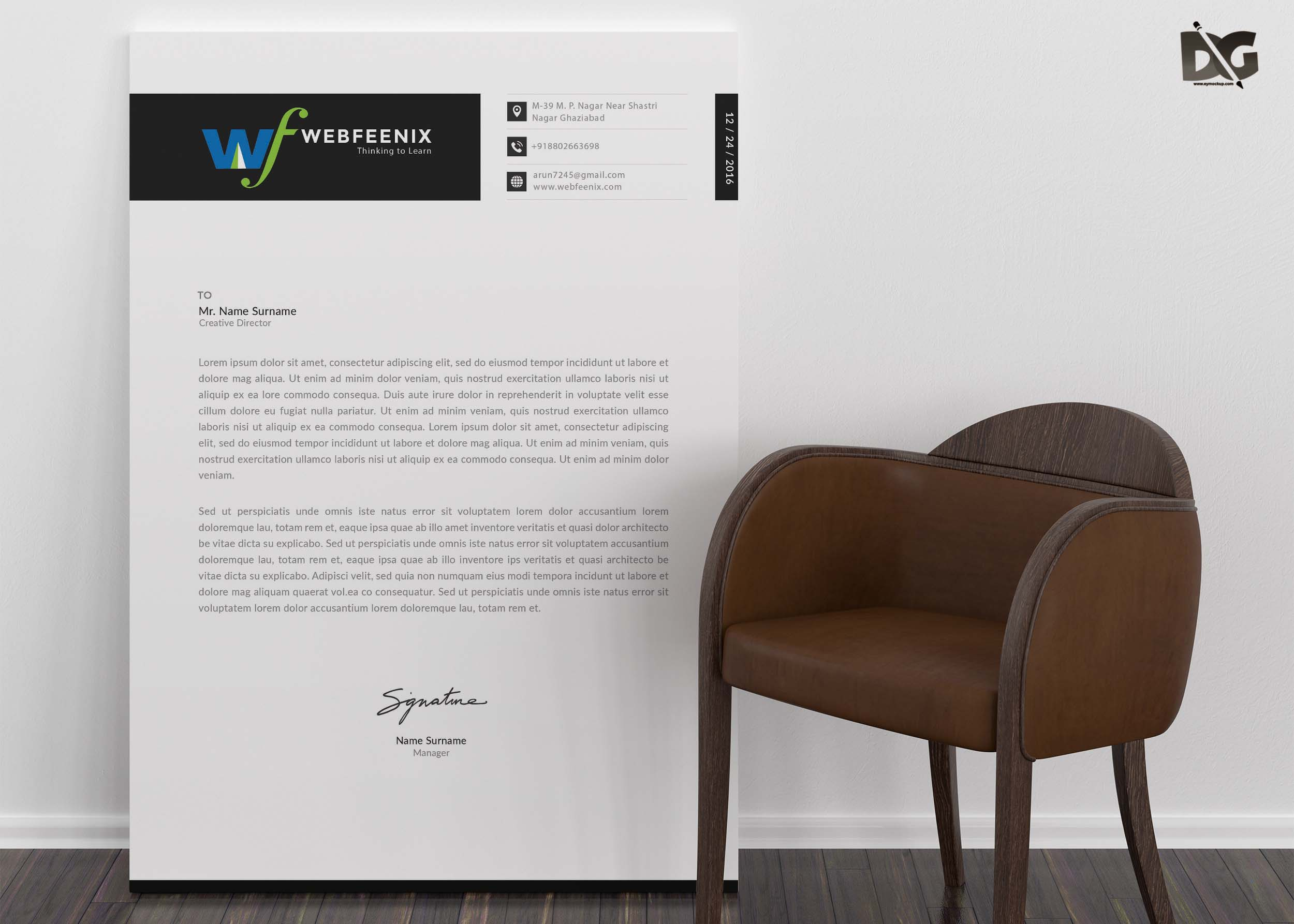 Free Download Institute LetterHead PSD Template