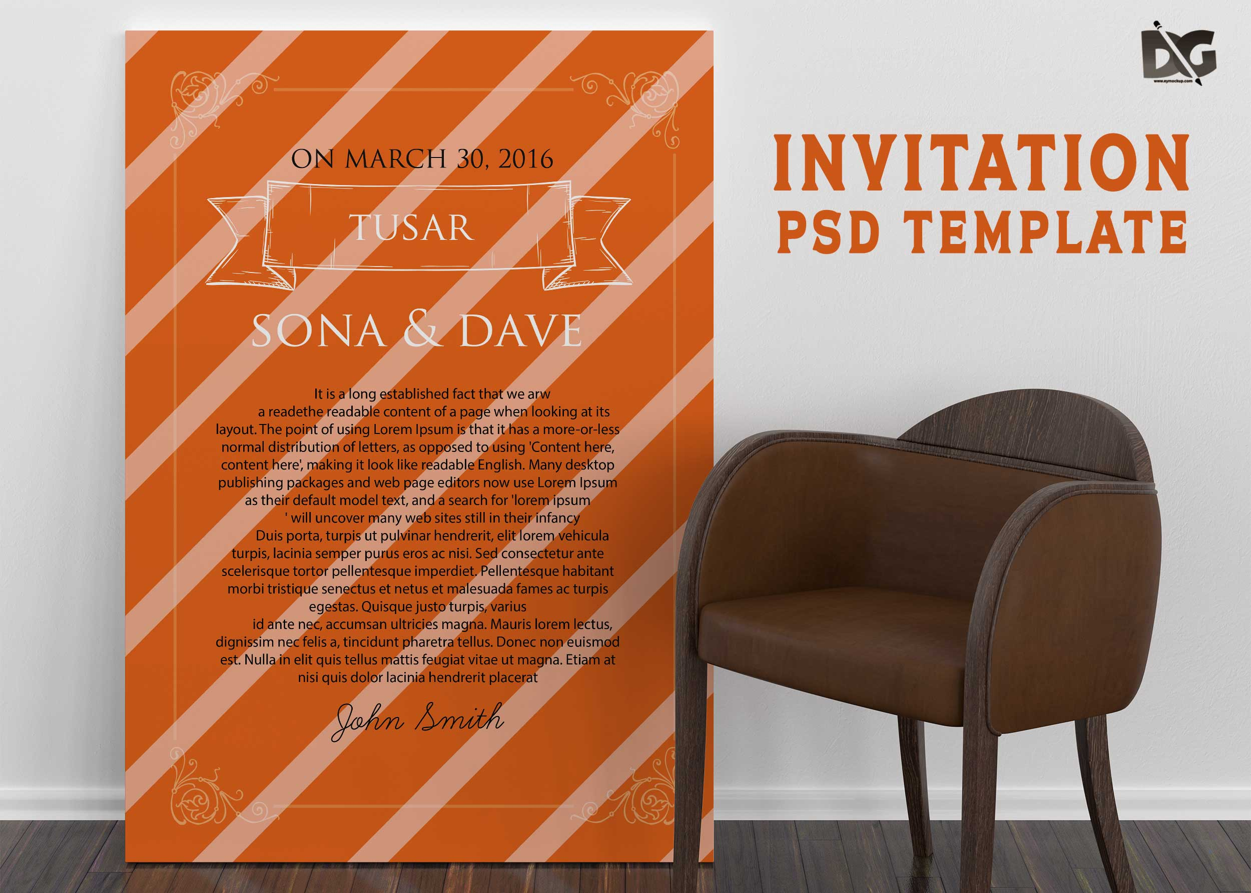 Free Download Invitation PSD Template