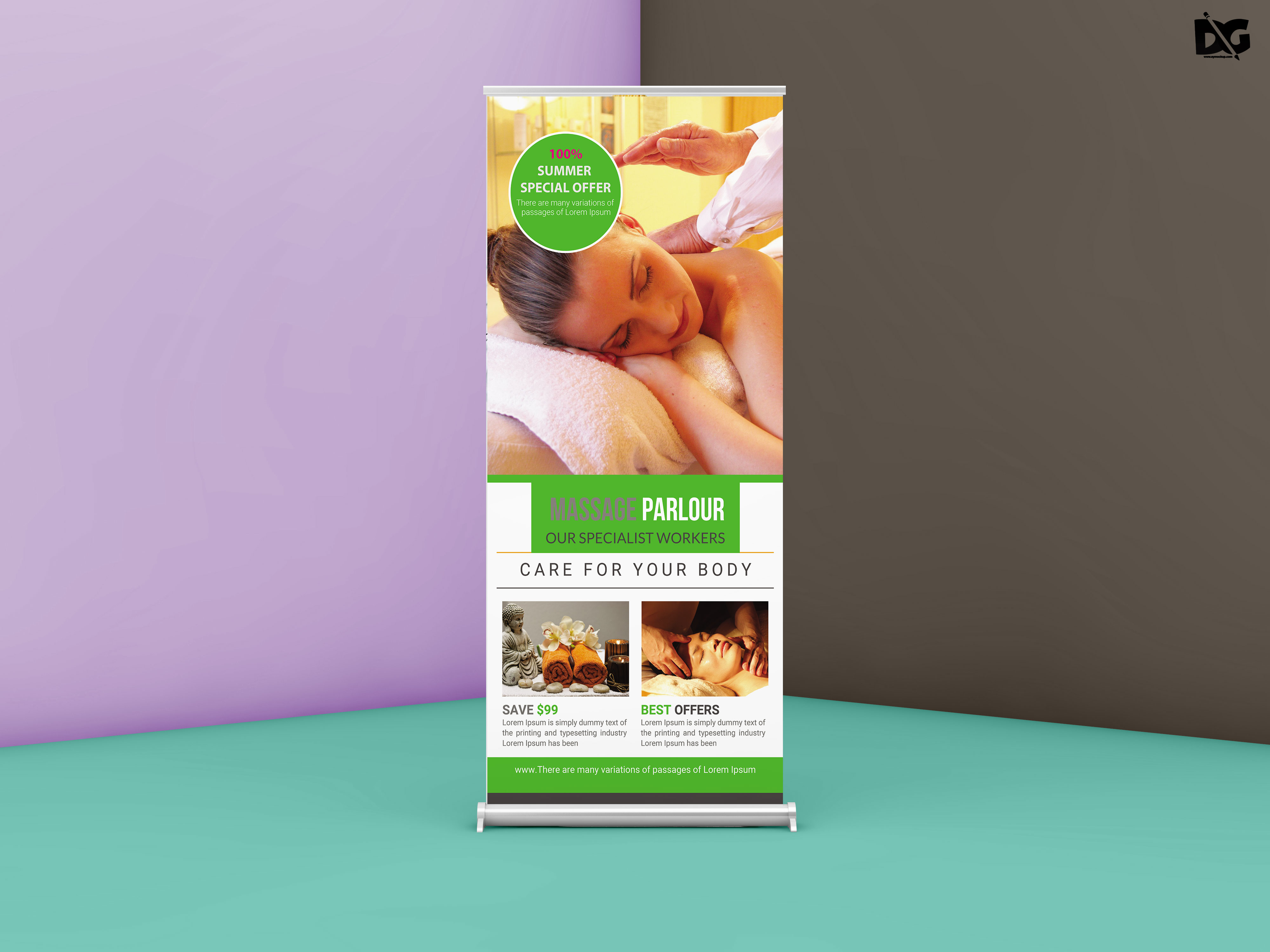 Free Download Massage Parlour Shop Roll up Banner Template