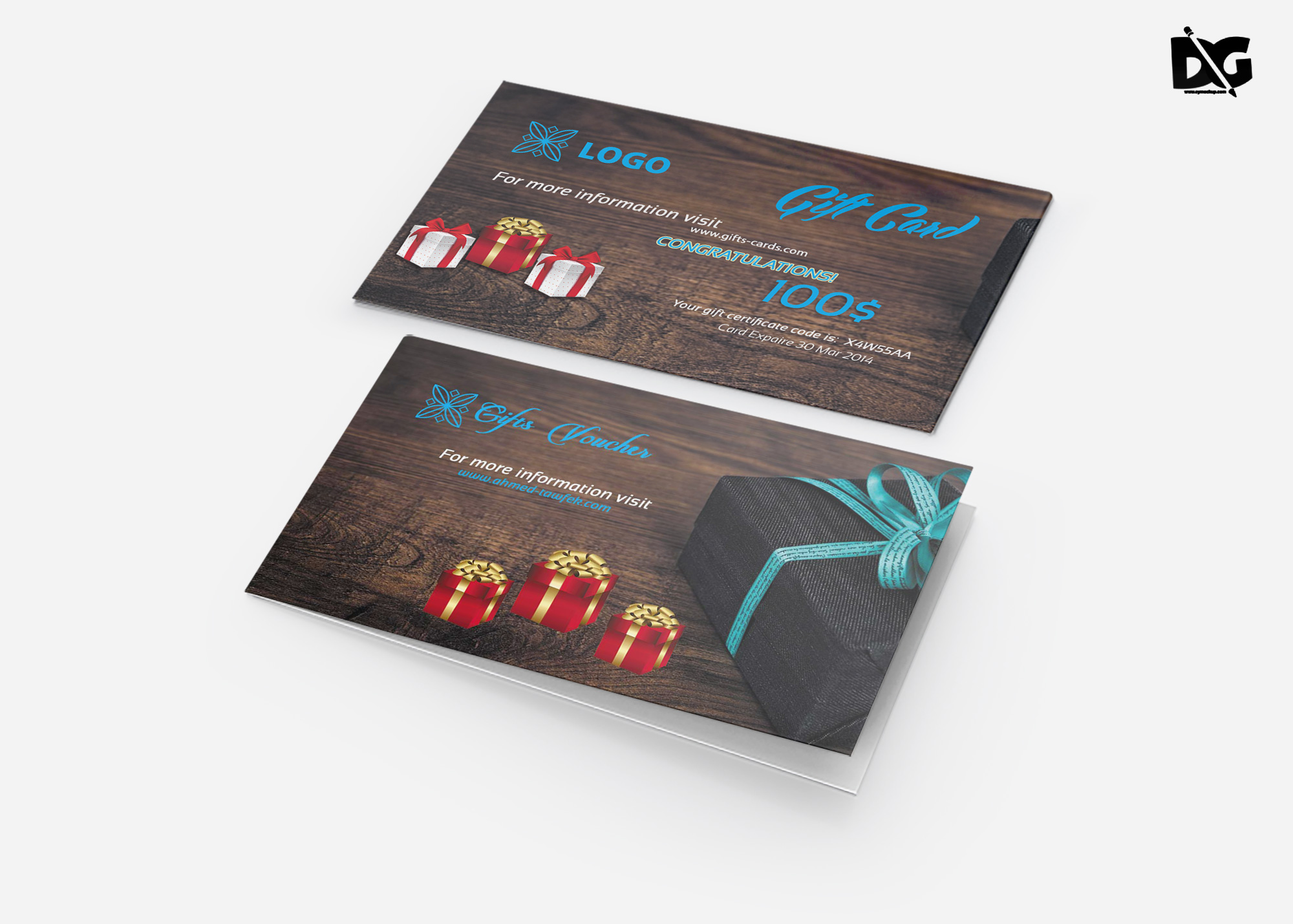 Free Download PSD Gift Card Template
