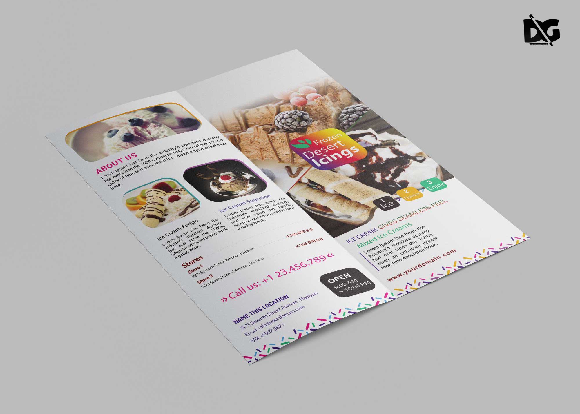 Free Download PSD Ice Cream DL Brochure Template