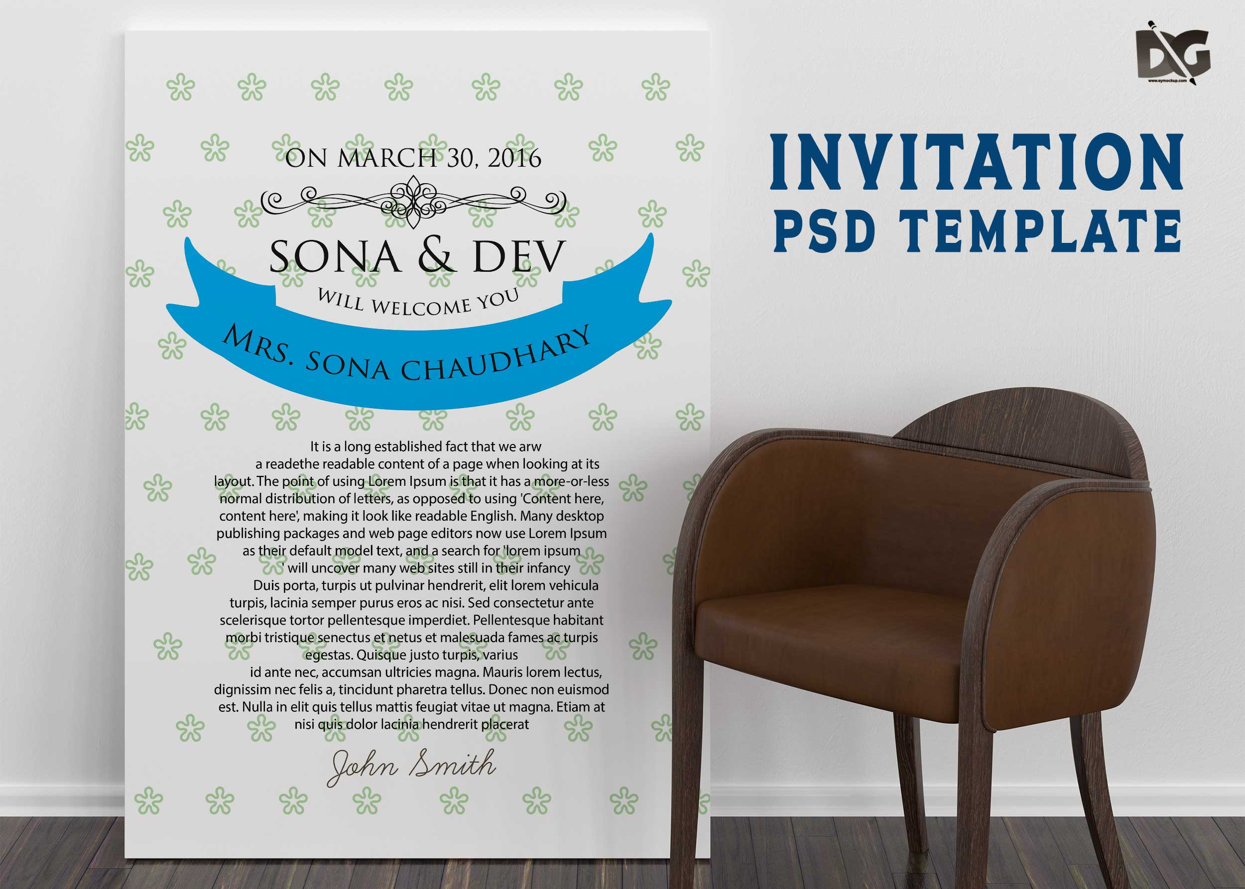 Free Download PSD Invitation Template