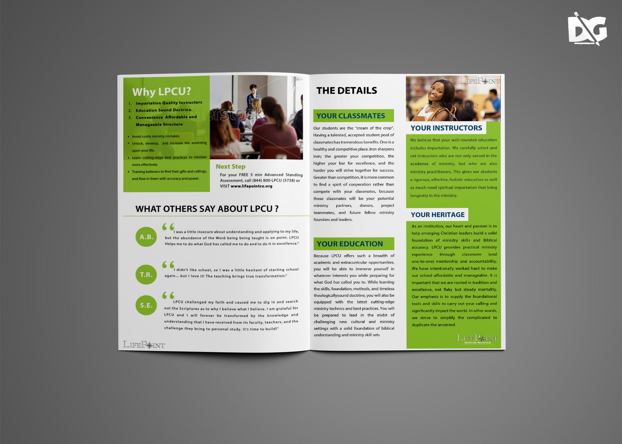 Free Download PSD Lifepoint University Bi-Fold Brochure Template
