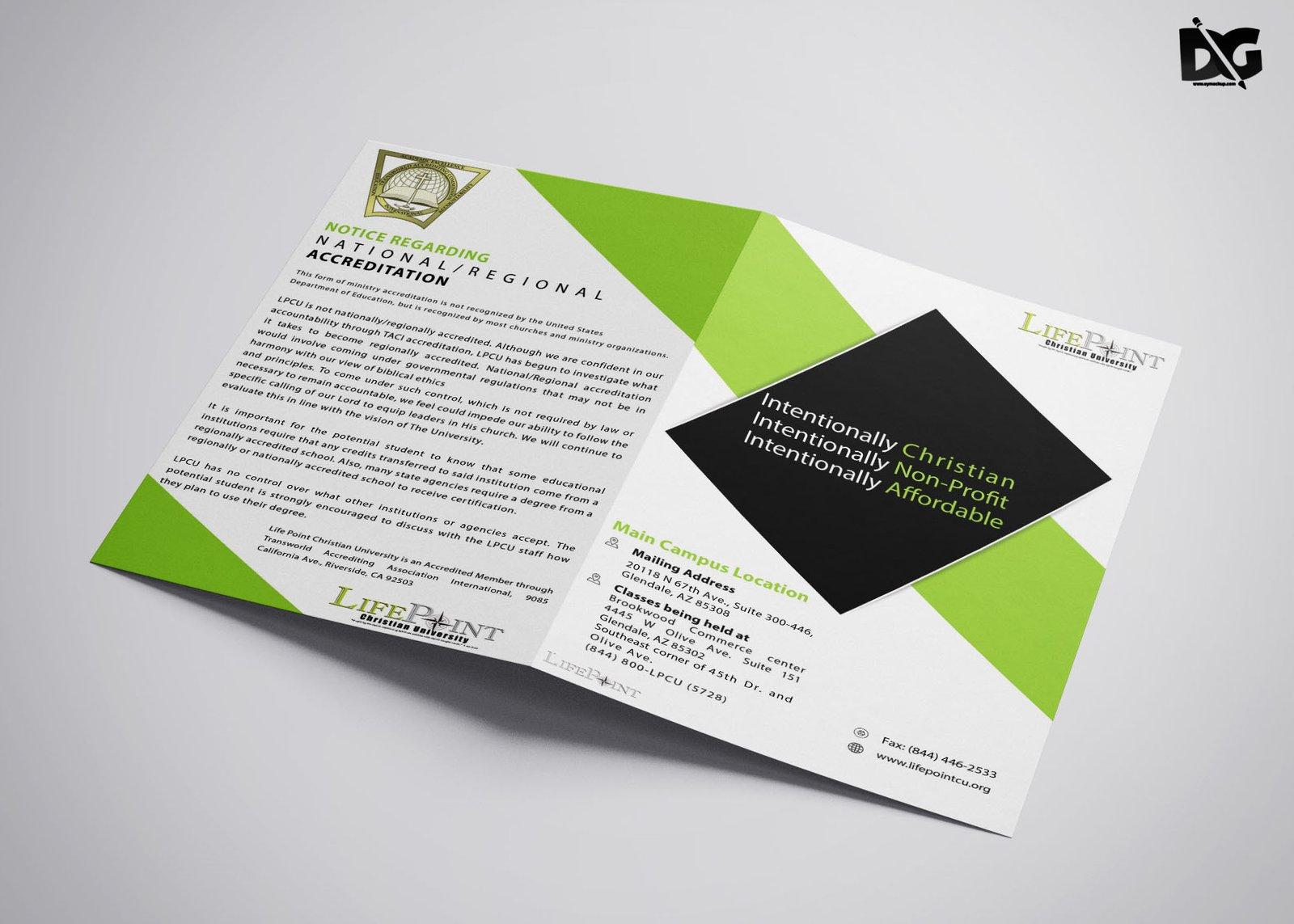 free download psd lifepoint university bi fold brochure template