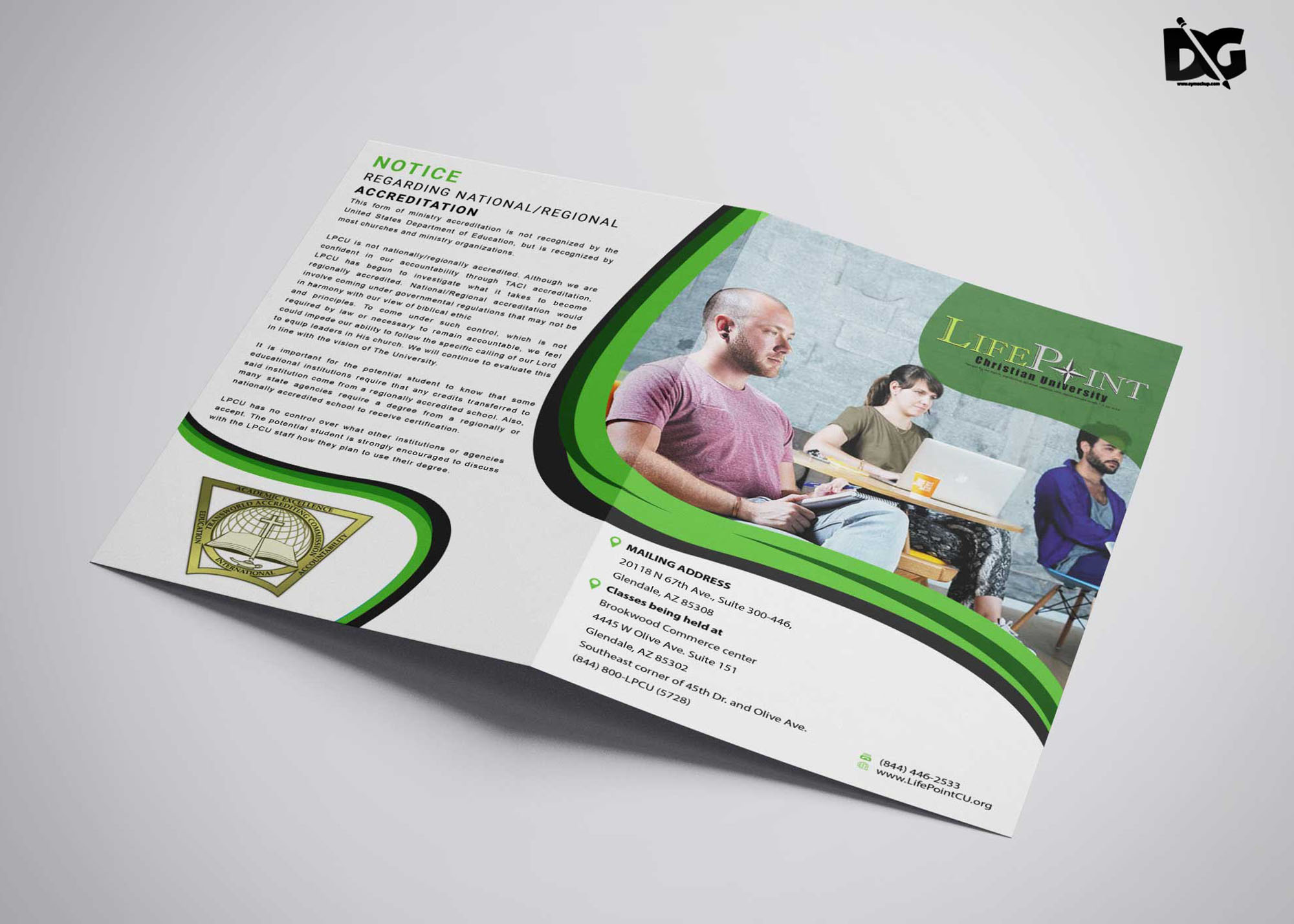 Free Download PSD University Bi-Fold Brochure Template