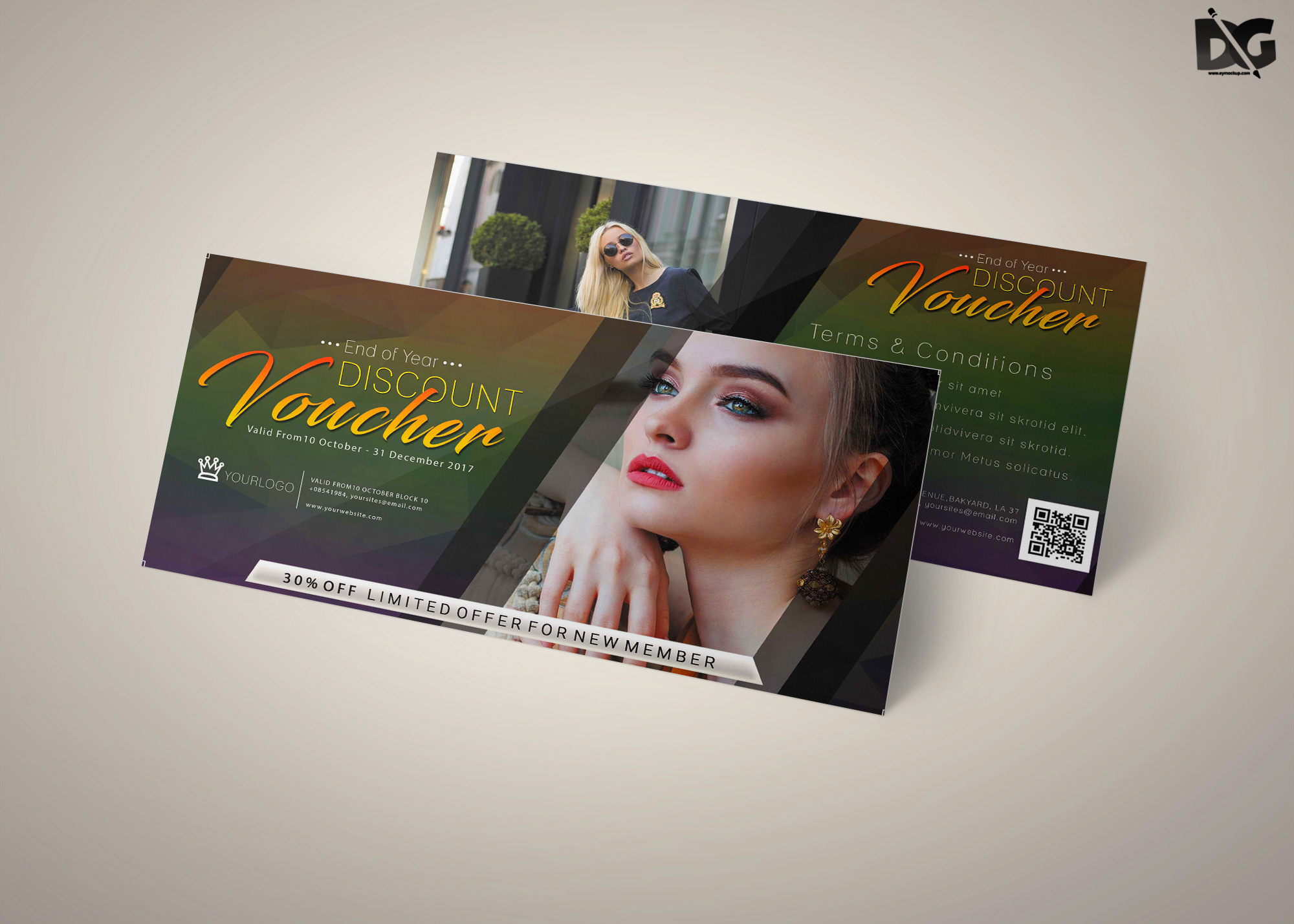 Free Download Photoshoot Gift Card PSD Template