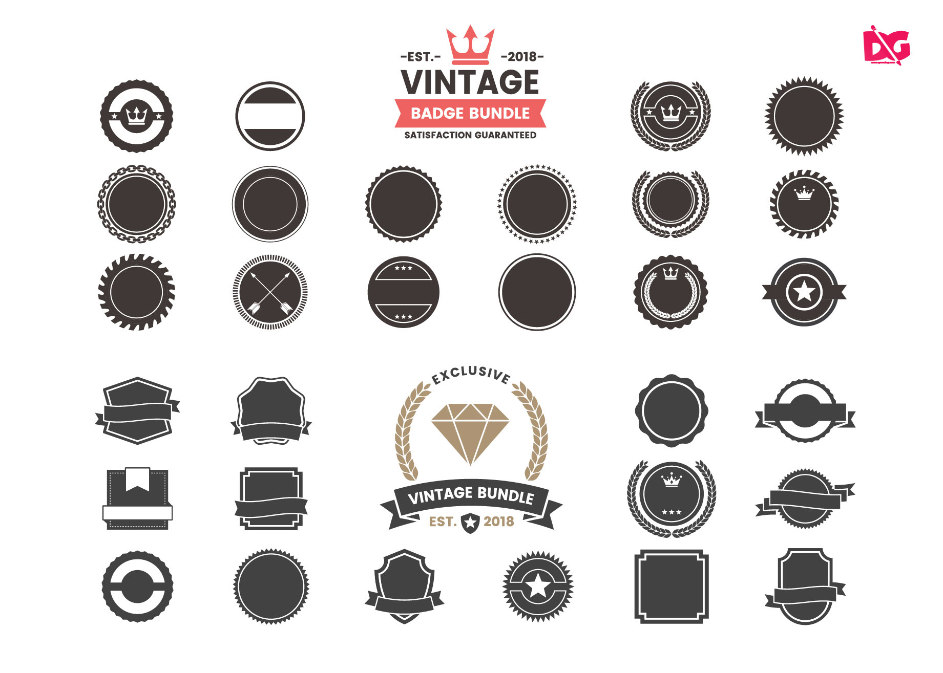 Free Download Vintage Round Badge Collection