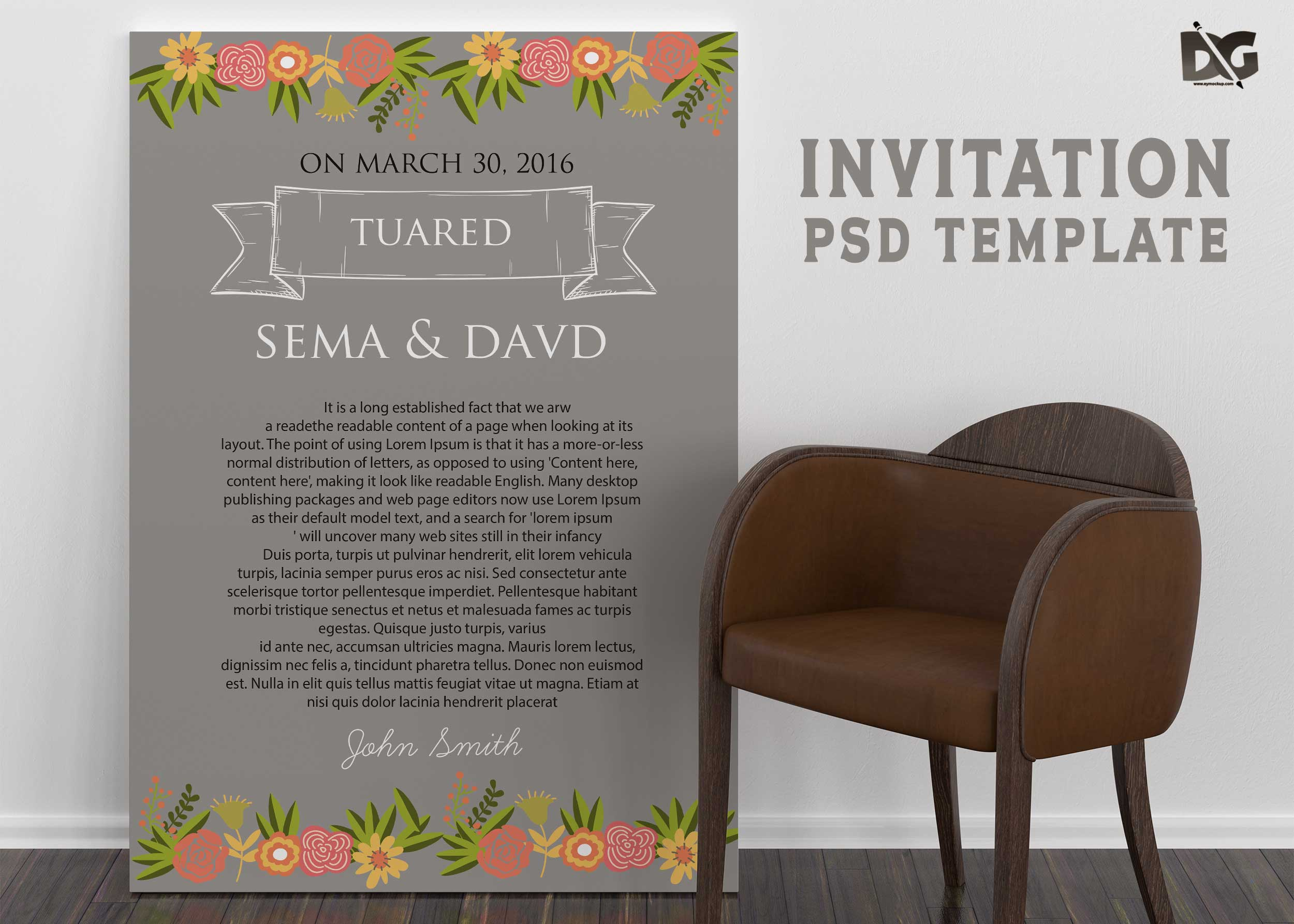 Free Download Wedding Invitation PSD Template