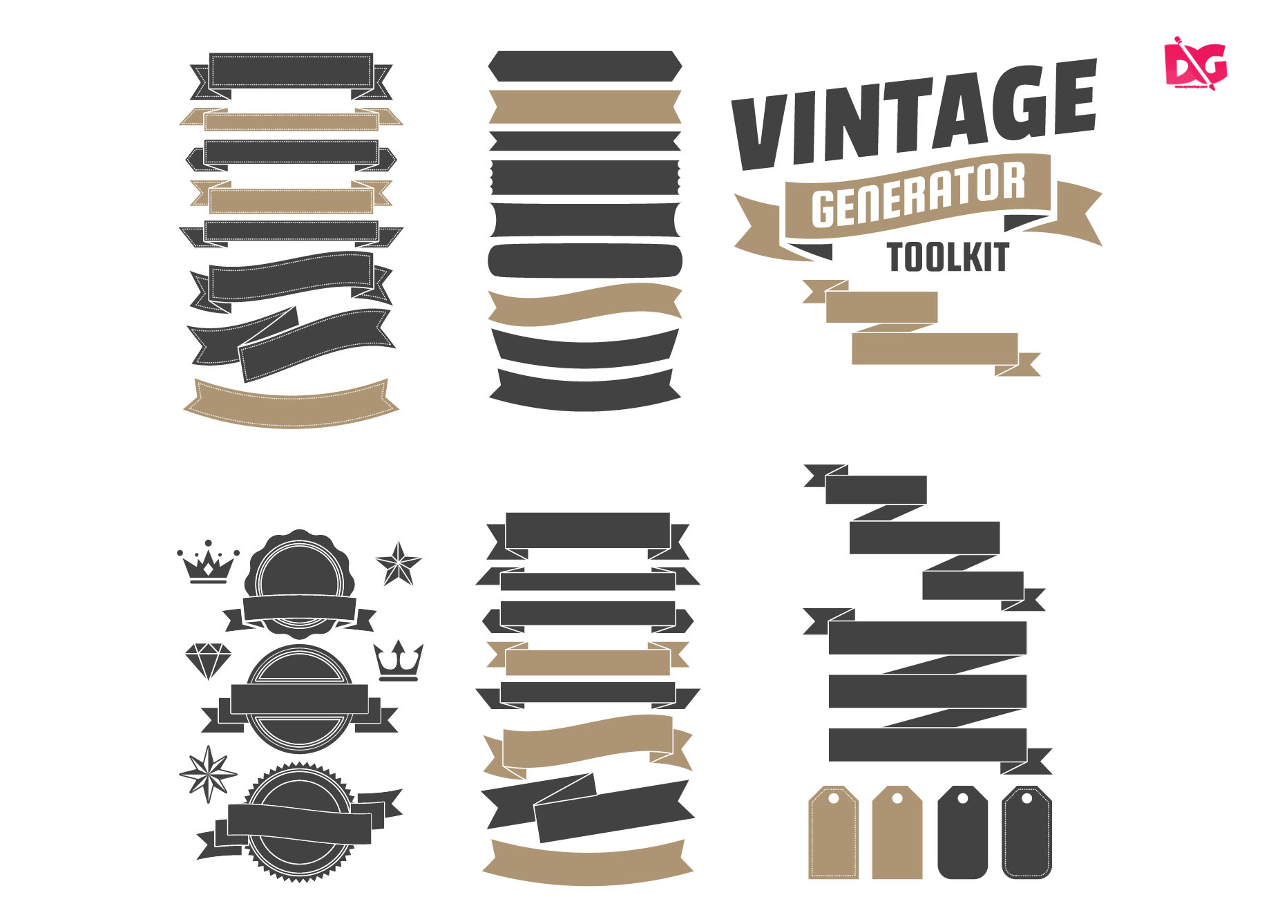 Free Download Zigzag Straight Badges Collection