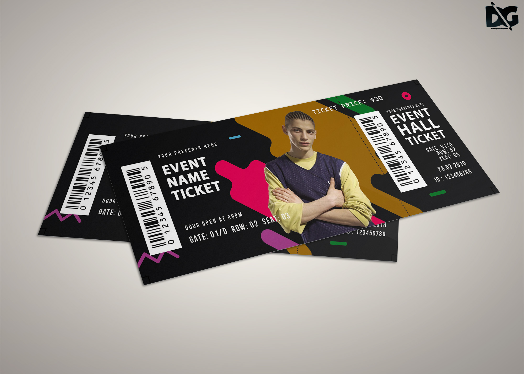 Free Event Hall Ticket PSD Template