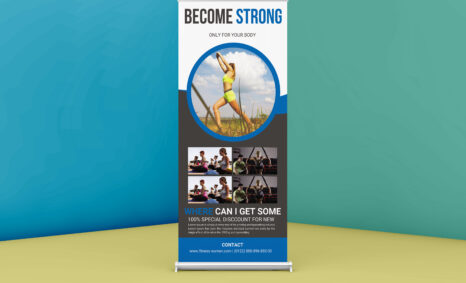 Free Gym Roll up PSD Banner Template