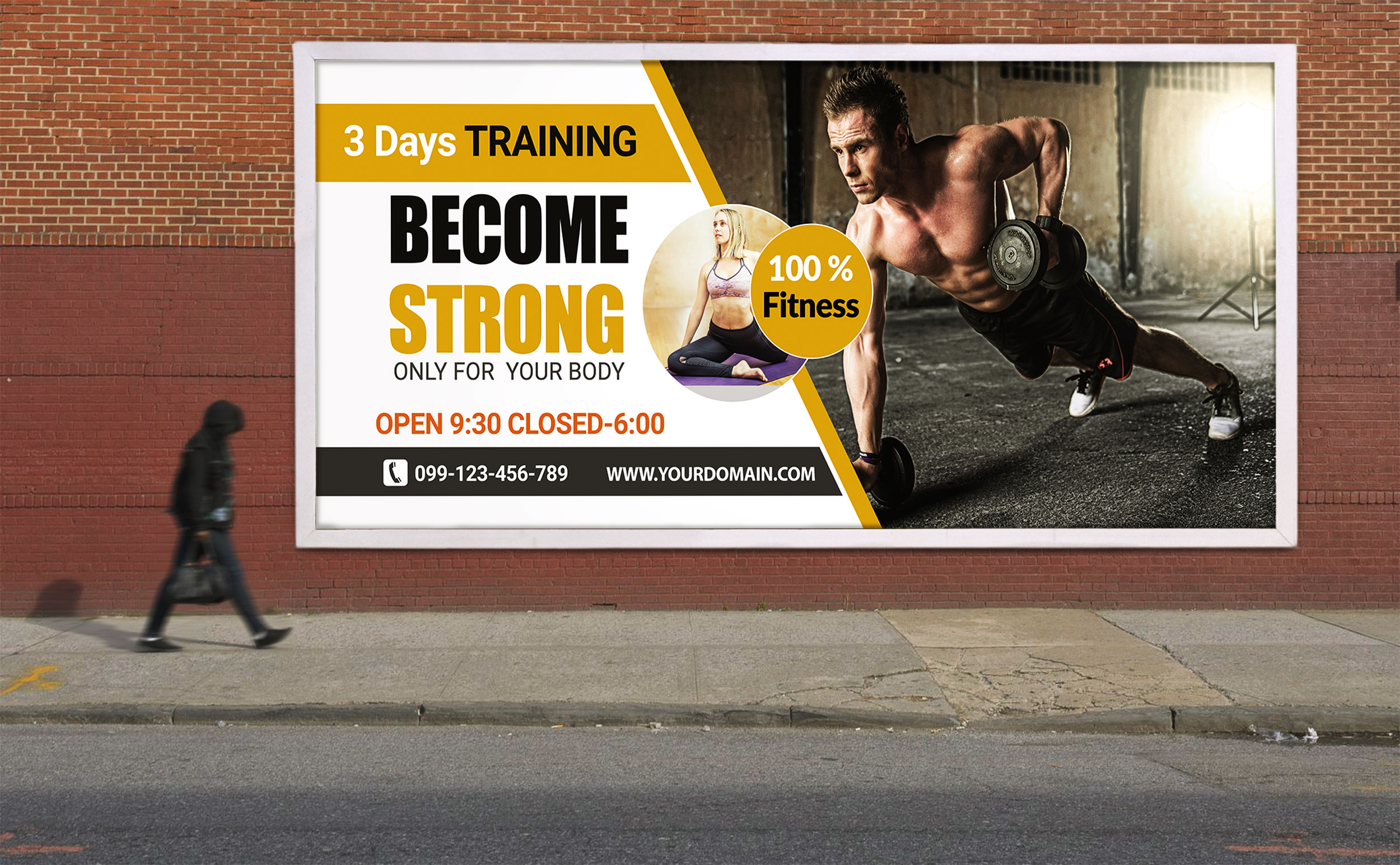 Free Gym Training Billboard Design PSD Template