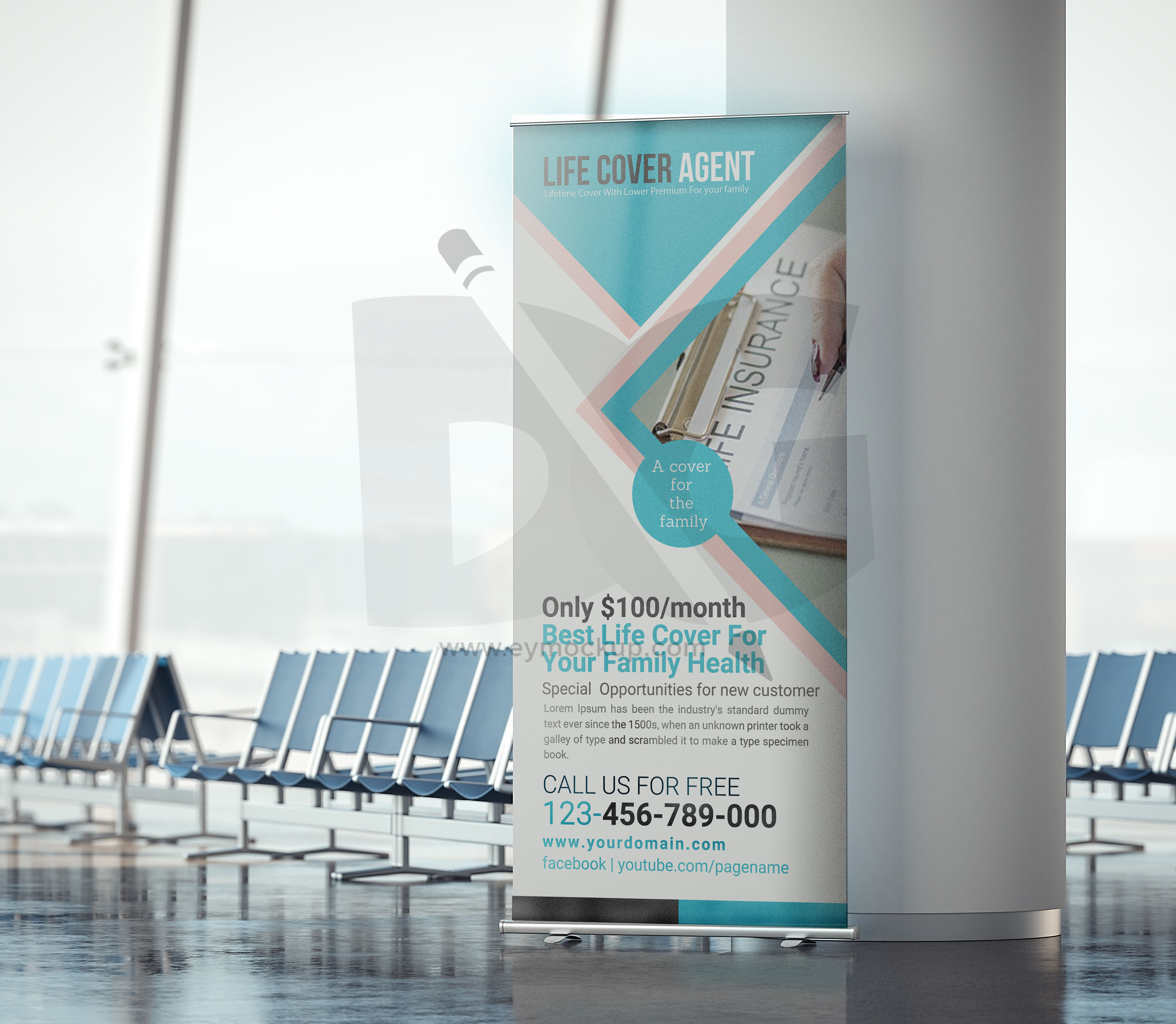 Free Life Cover Agent Roll up Banner template