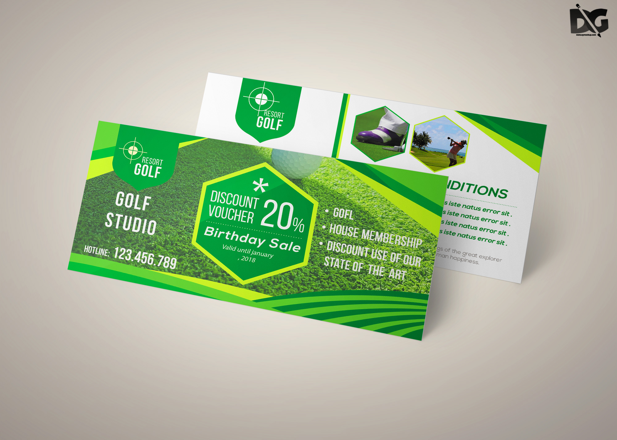 Free PSD Golf Studio Gift Card Template
