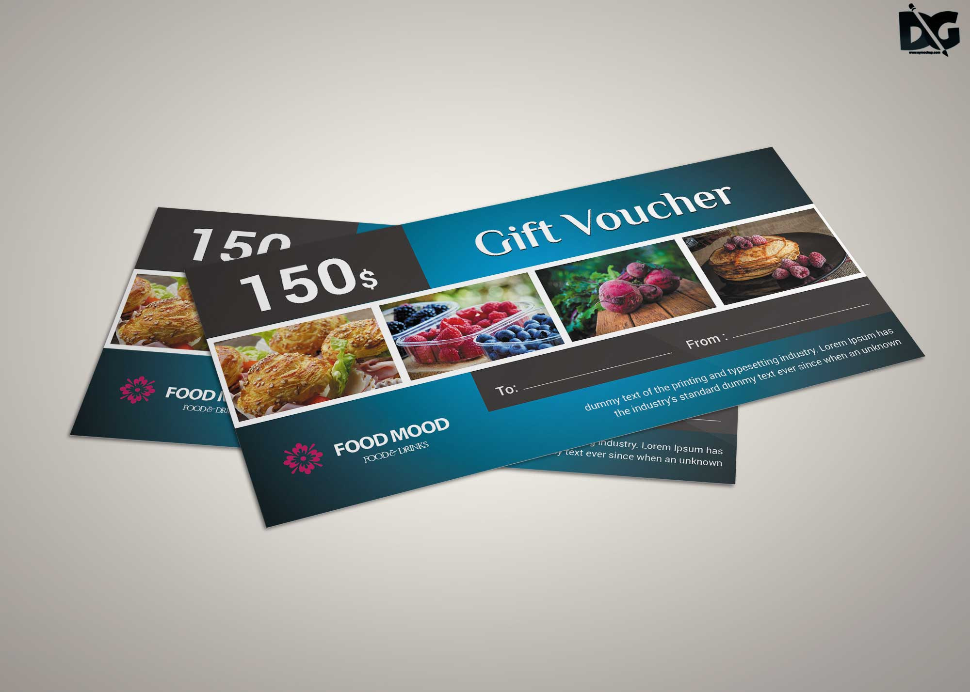 Free PSD Restaurant Food Gift Card Template