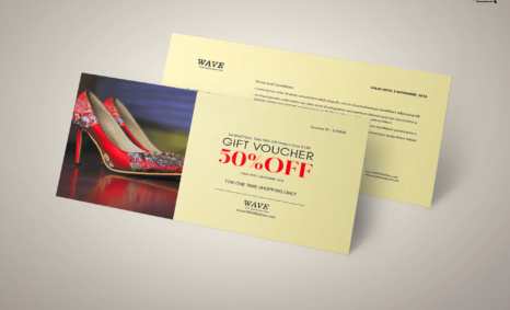 Free PSD Sandals Discount Gift Card Template