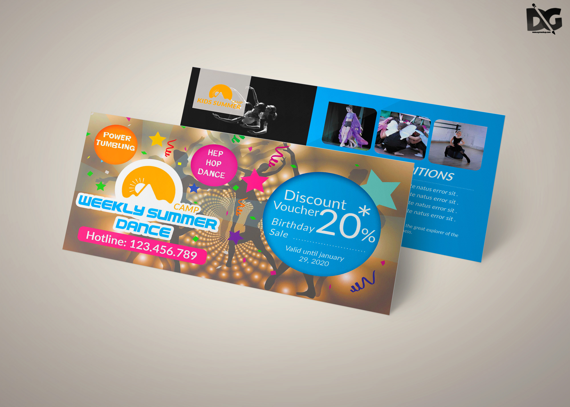 Free PSD Summer Training Gift Card Template
