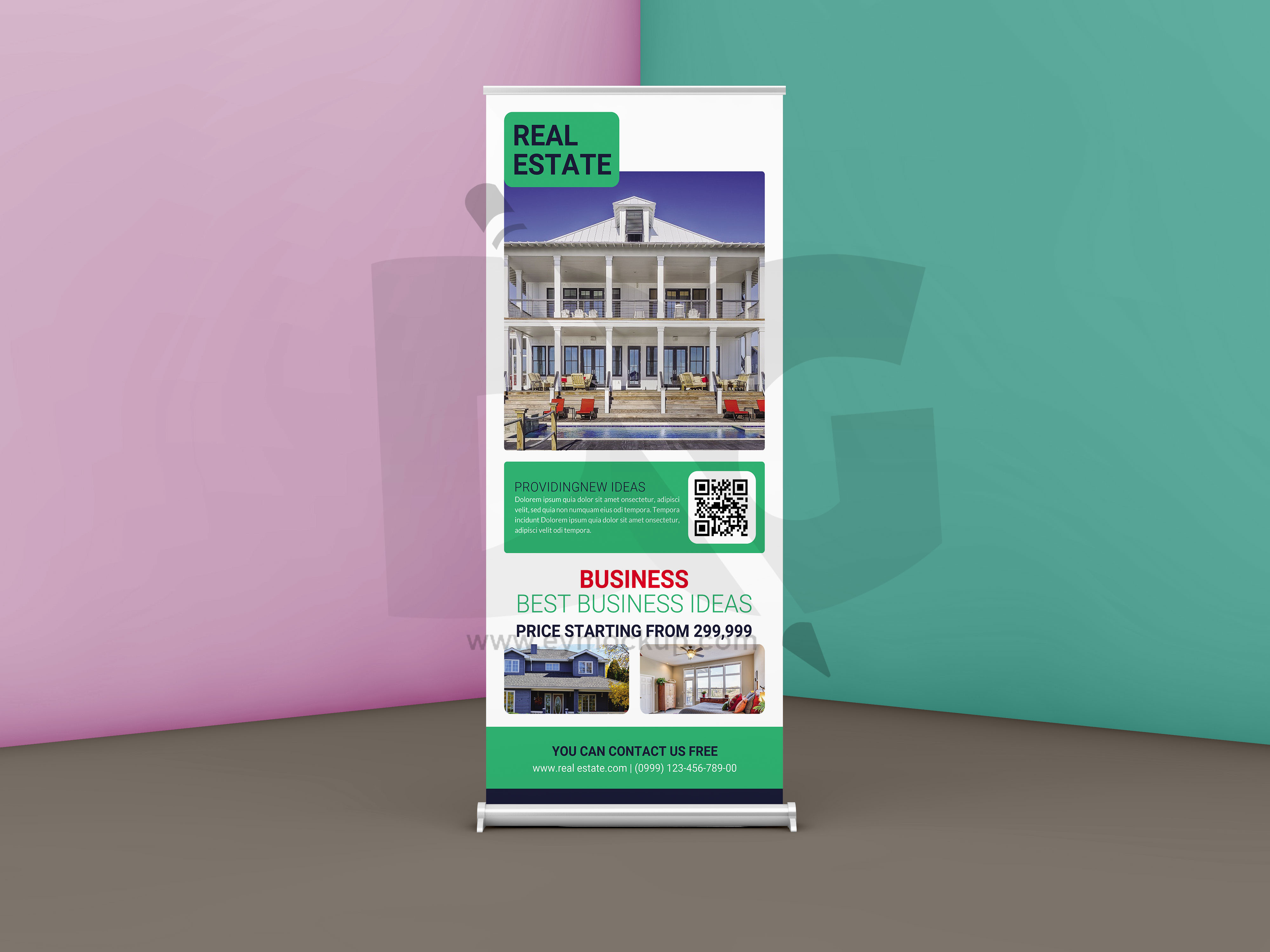 Free Real Estate Business Roll up Banner Template