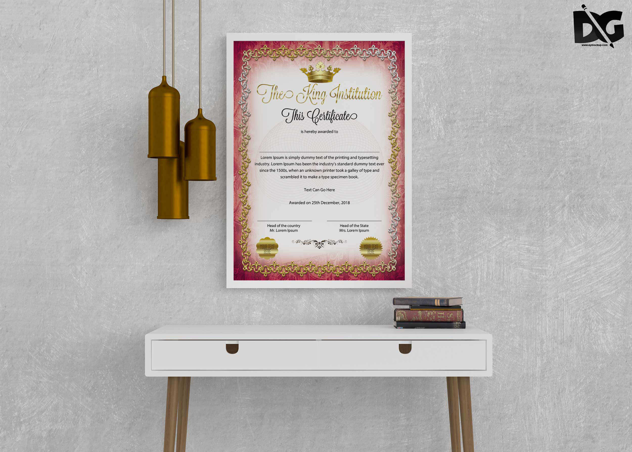 Free Royal Institute Certificate Psd Template Free Psd Mockup