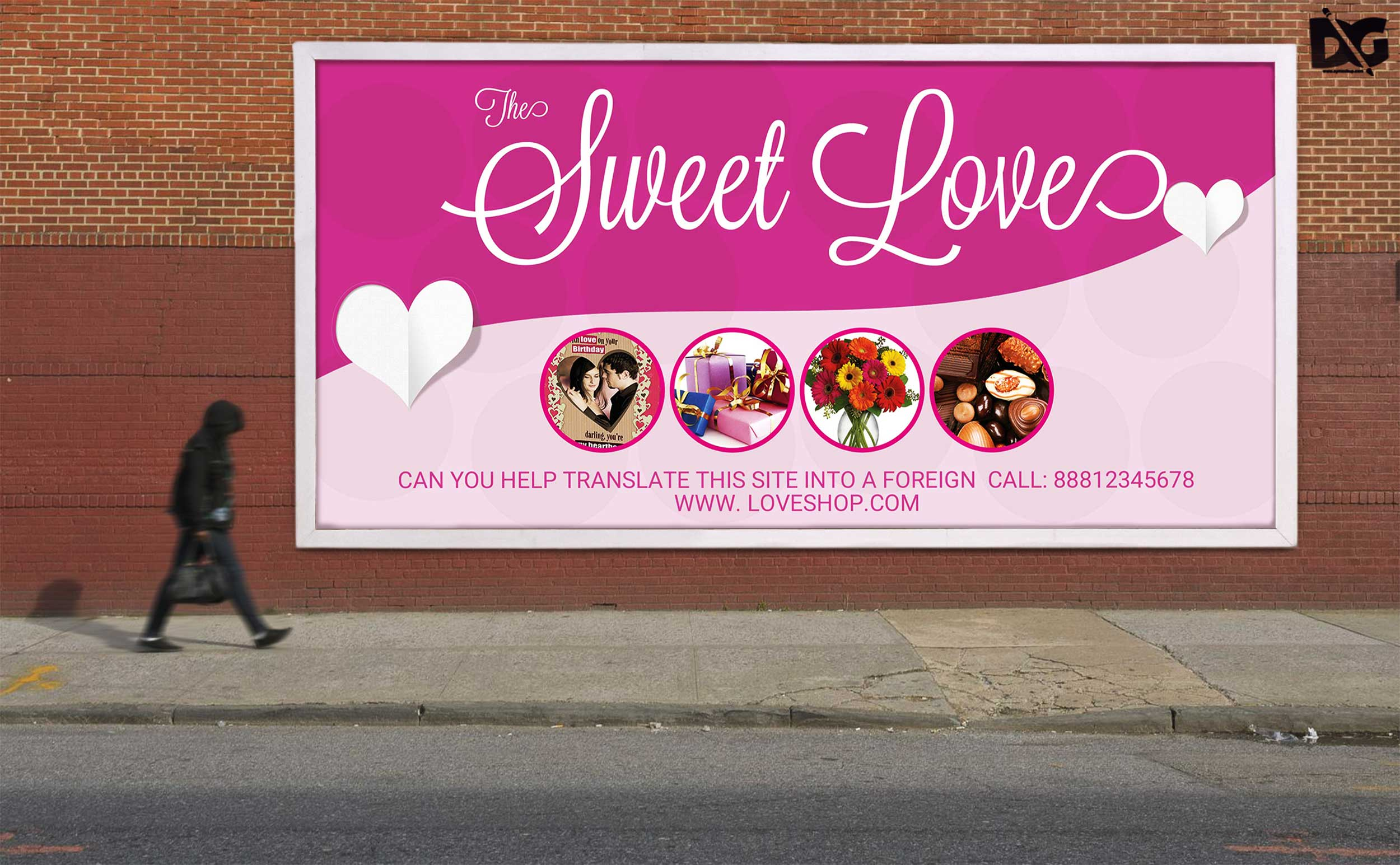 Free Sweet Love Billboard Design PSD Template