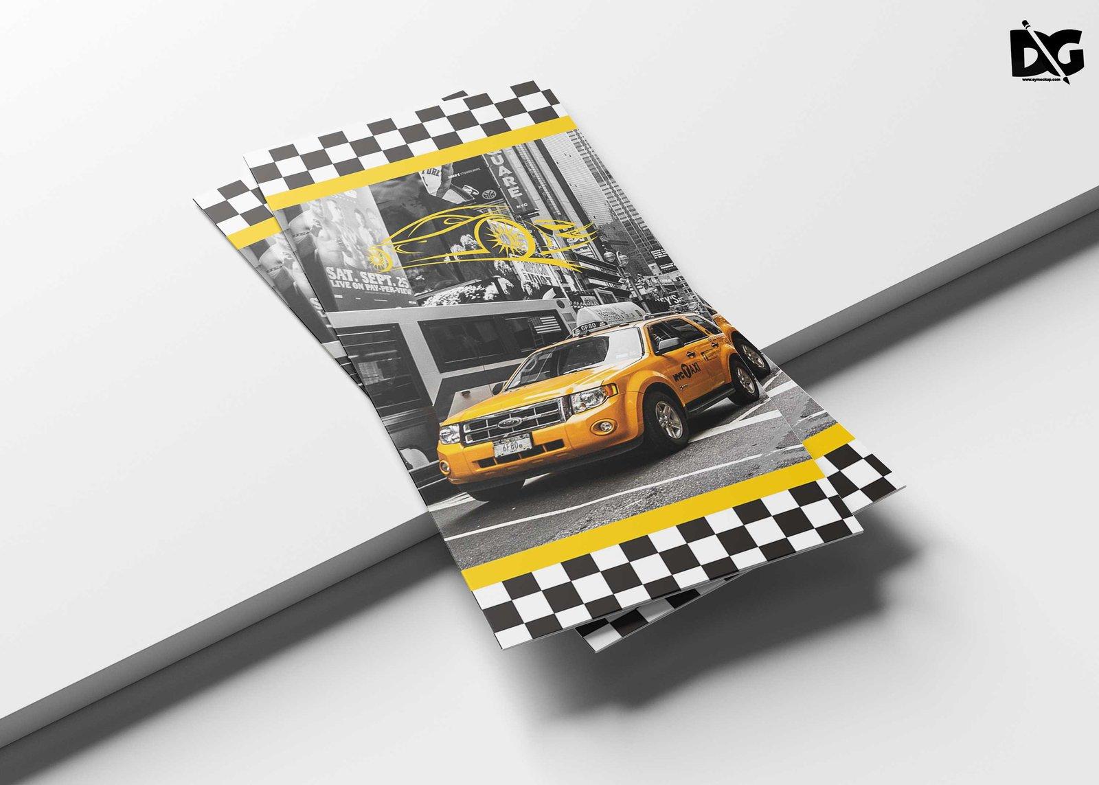 Free Taxi Tri-Fold brochure Template